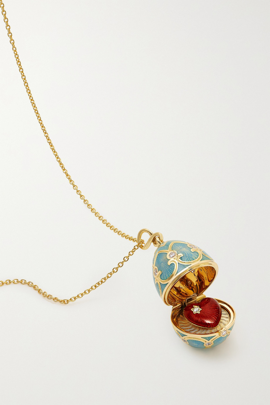 FABERGÉ Heritage 18-karat gold, enamel and diamond necklace