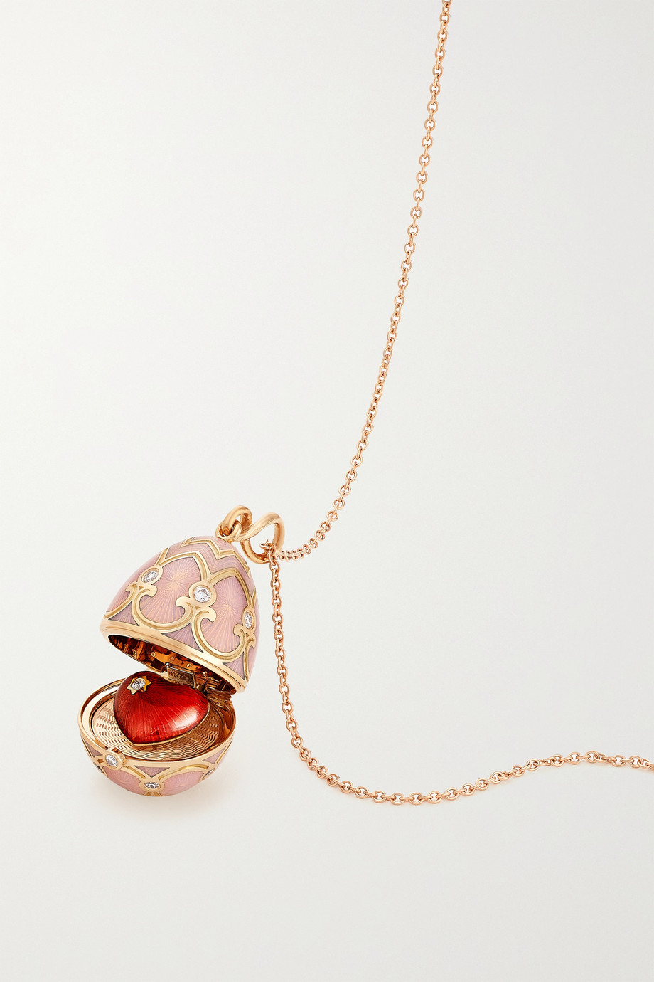 FABERGÉ Heritage 18-karat rose gold, enamel and diamond necklace