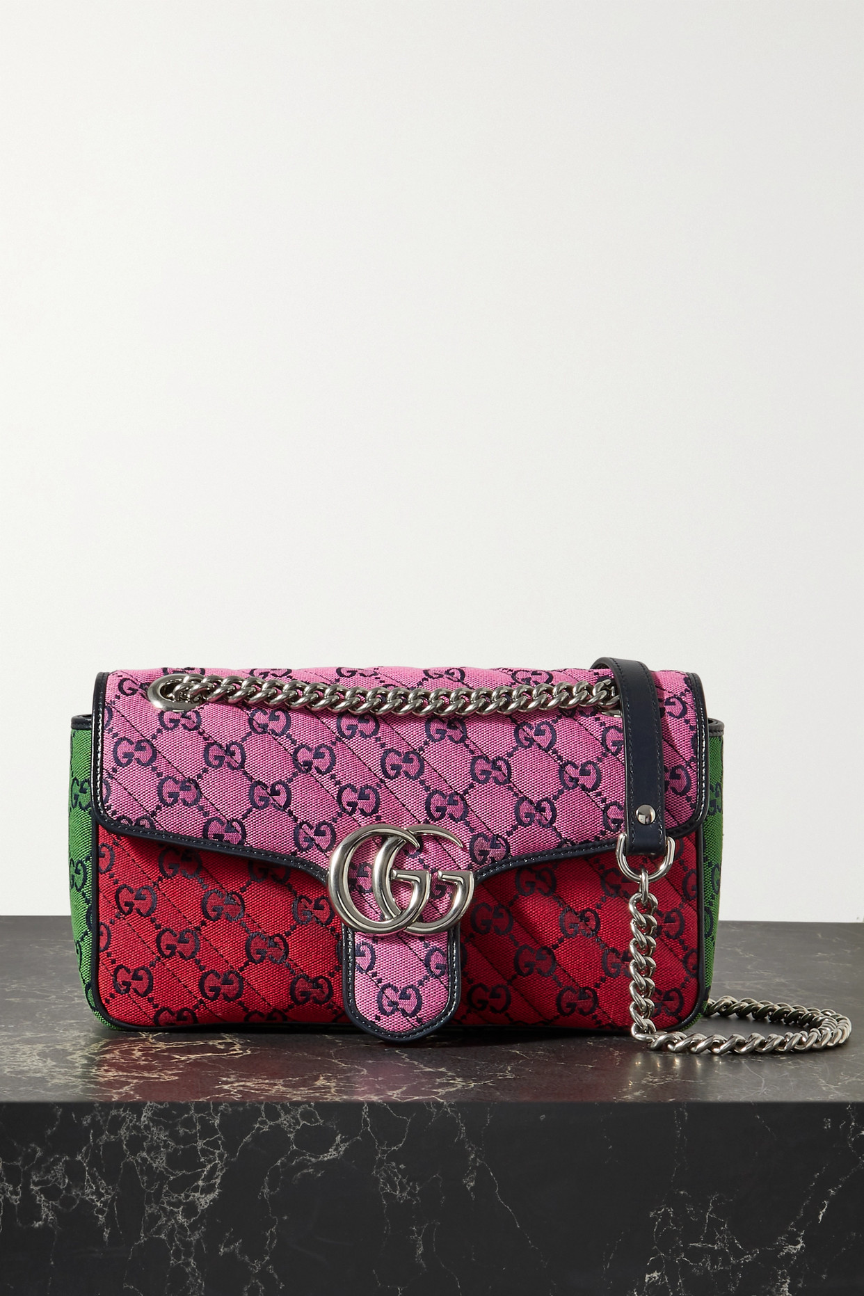 GUCCI - Gg Marmont Multicolour Small Quilted Jacquard Shoulder Bag - Brown - one size