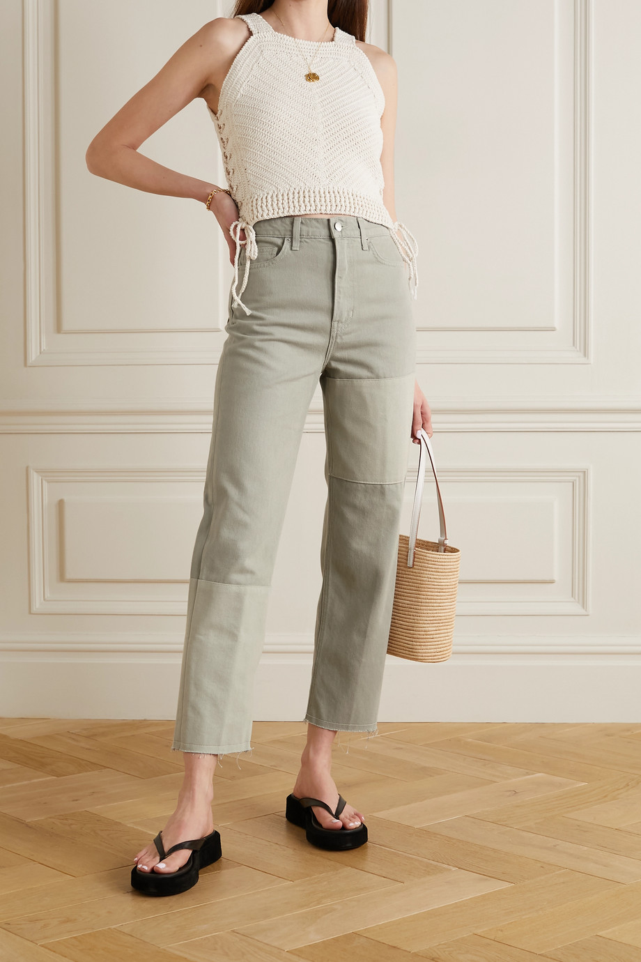 REFORMATION + NET SUSTAIN Ryan paneled organic high-rise straight-leg jeans