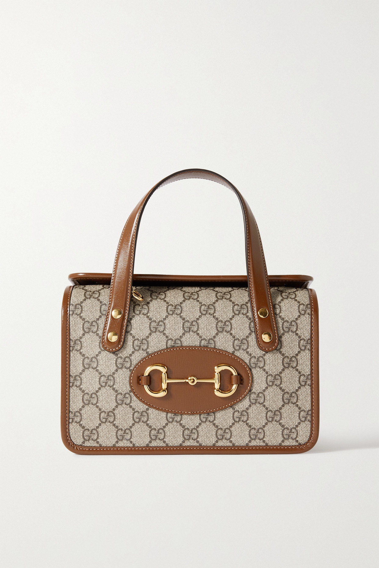 GUCCI - Horsebit 1955 Mini Leather-trimmed Printed Coated-canvas Tote - Brown - one size