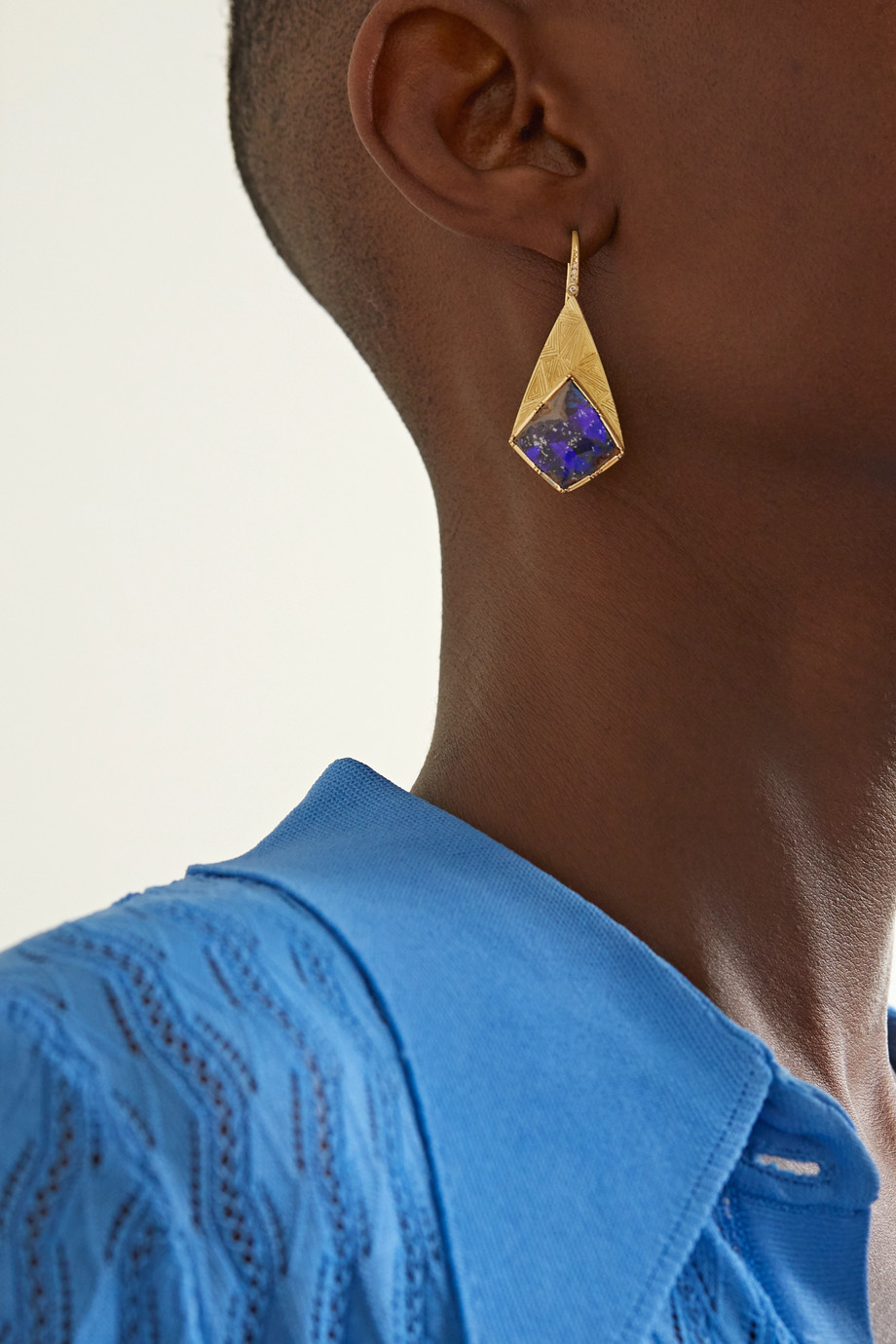 BROOKE GREGSON Nefertiti 18-karat gold, opal and diamond earrings