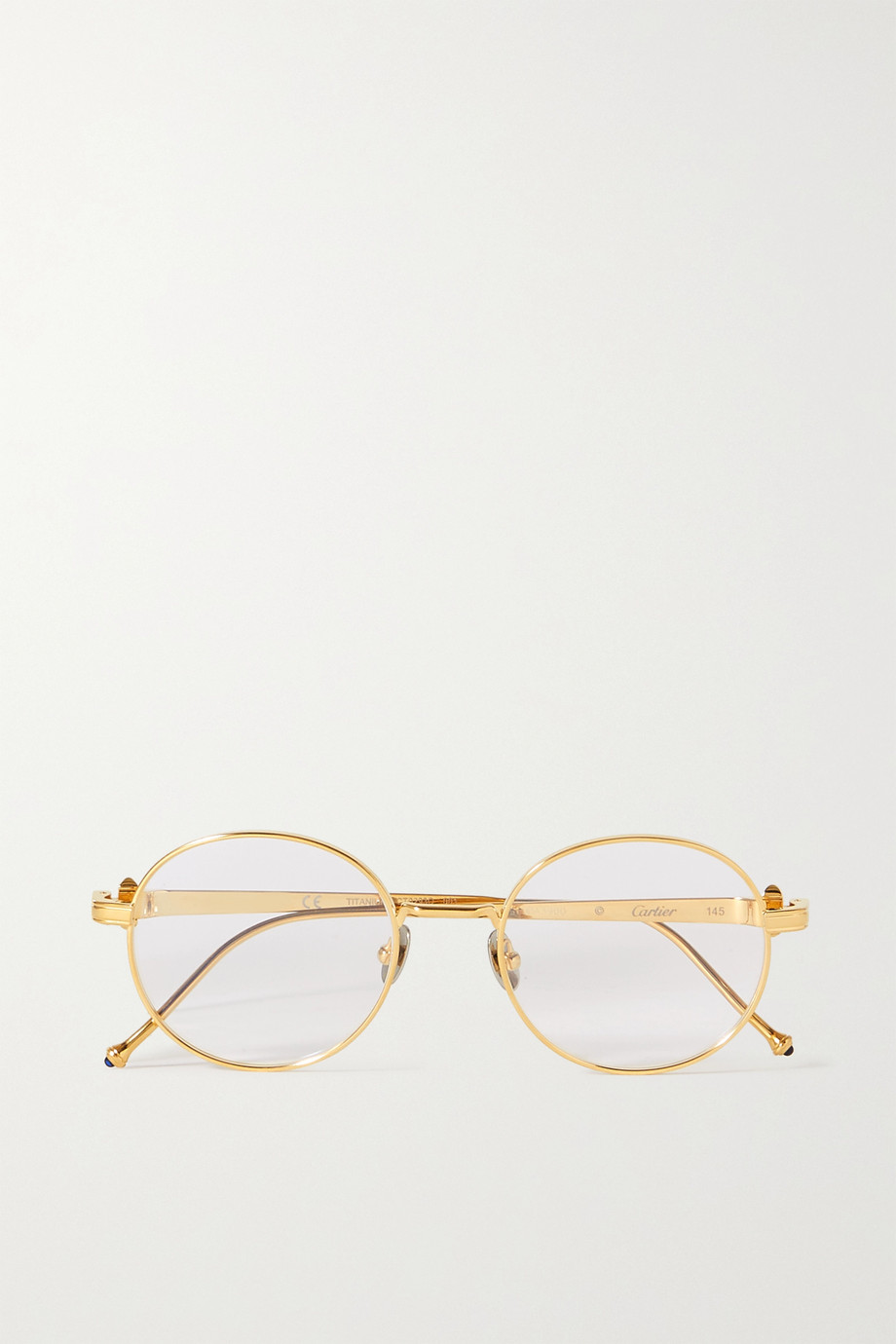 CARTIER EYEWEAR Pasha de Cartier round-frame gold-tone optical glasses