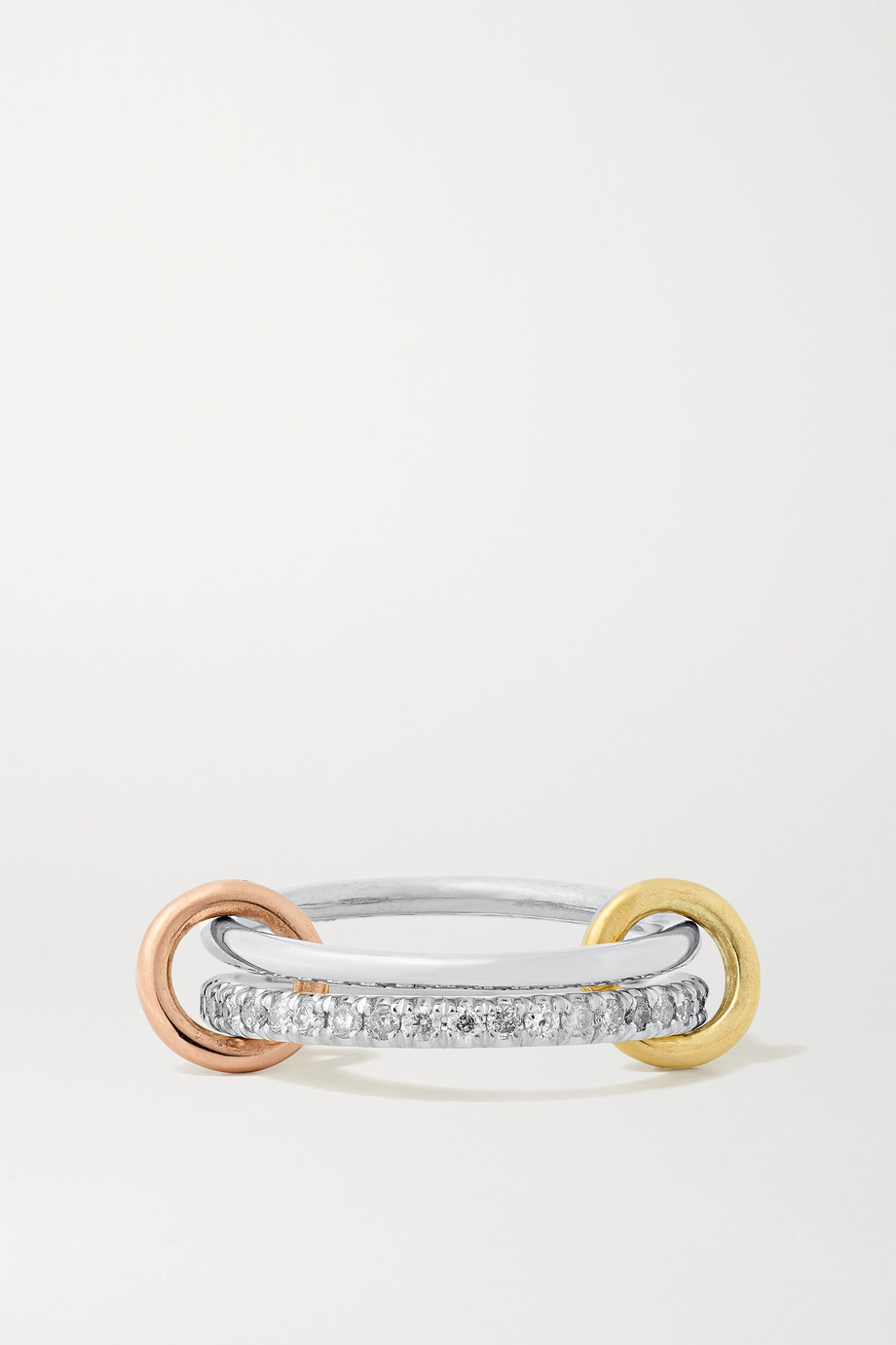 SPINELLI KILCOLLIN Marigold set of two sterling silver, 18-karat yellow and rose gold and diamond rings