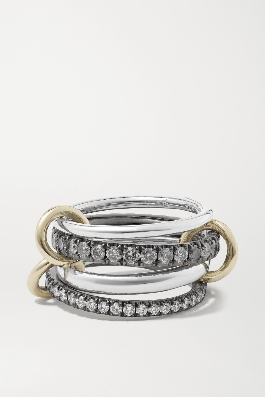 SPINELLI KILCOLLIN Sagittarius Deux Gris set of four 18-karat gold and rhodium-plated sterling silver diamond rings