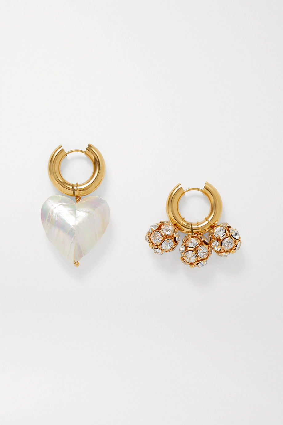 TIMELESS PEARLY Gold-tone, crystal and pearl hoop earrings