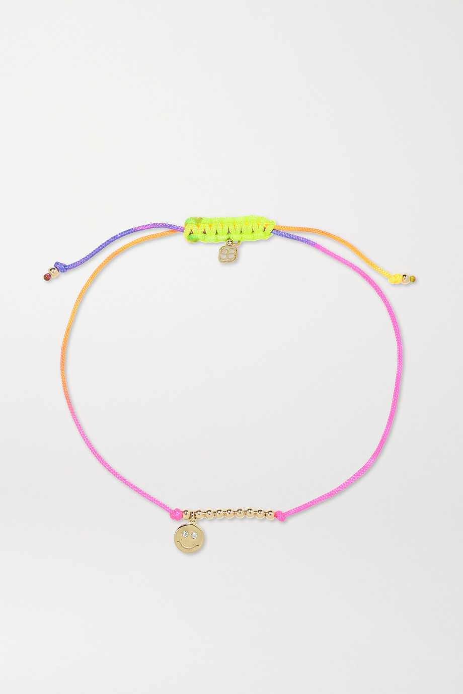 SYDNEY EVAN Happy Face 14-karat gold, neon cord and diamond bracelet