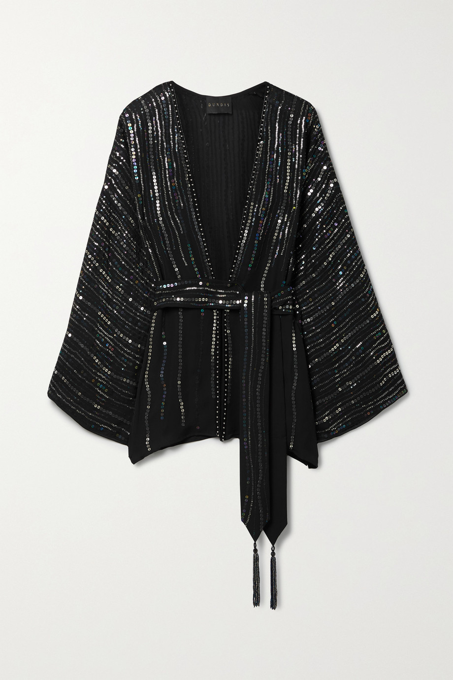 DUNDAS India belted sequin-embellished silk-georgette jacket