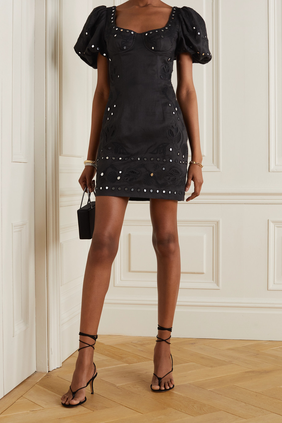 DUNDAS Open-back embroidered embellished ramie mini dress