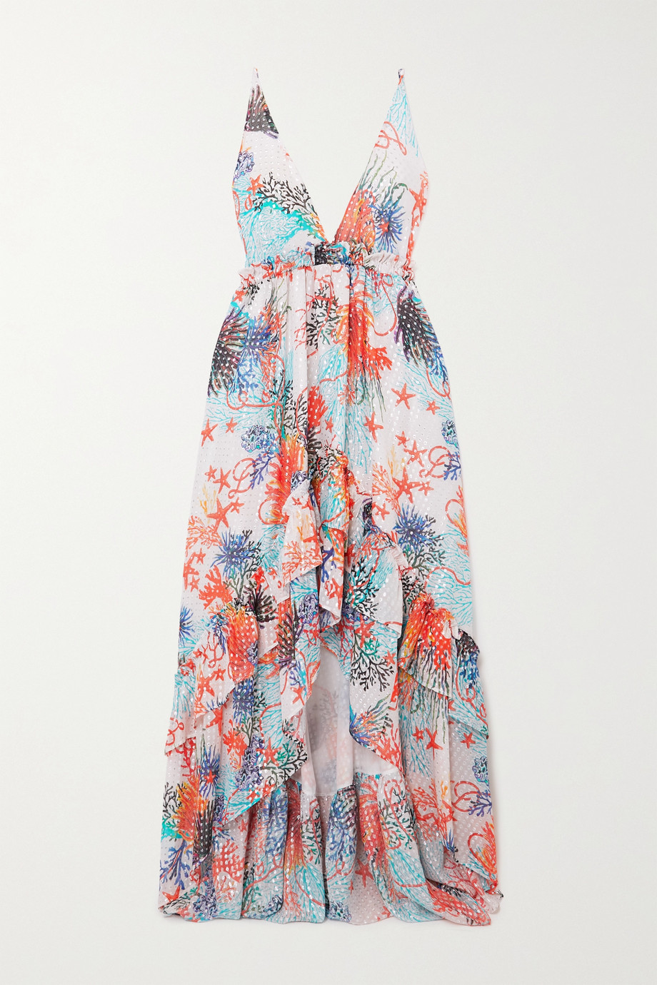 DUNDAS Open-back ruffled printed fil coupé silk-blend georgette dress