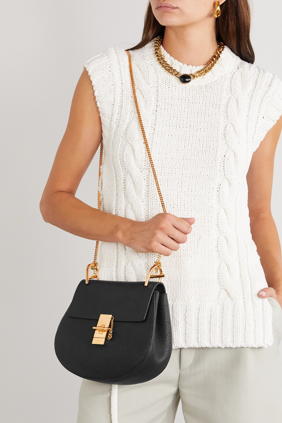 CHLOÉ Drew textured-leather shoulder bag