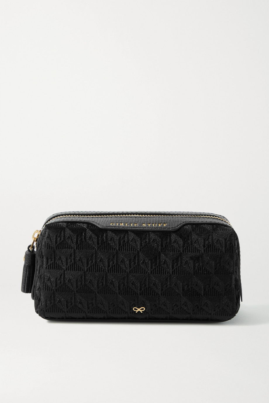 ANYA HINDMARCH Girlie Stuff leather-trimmed velvet-jacquard pouch