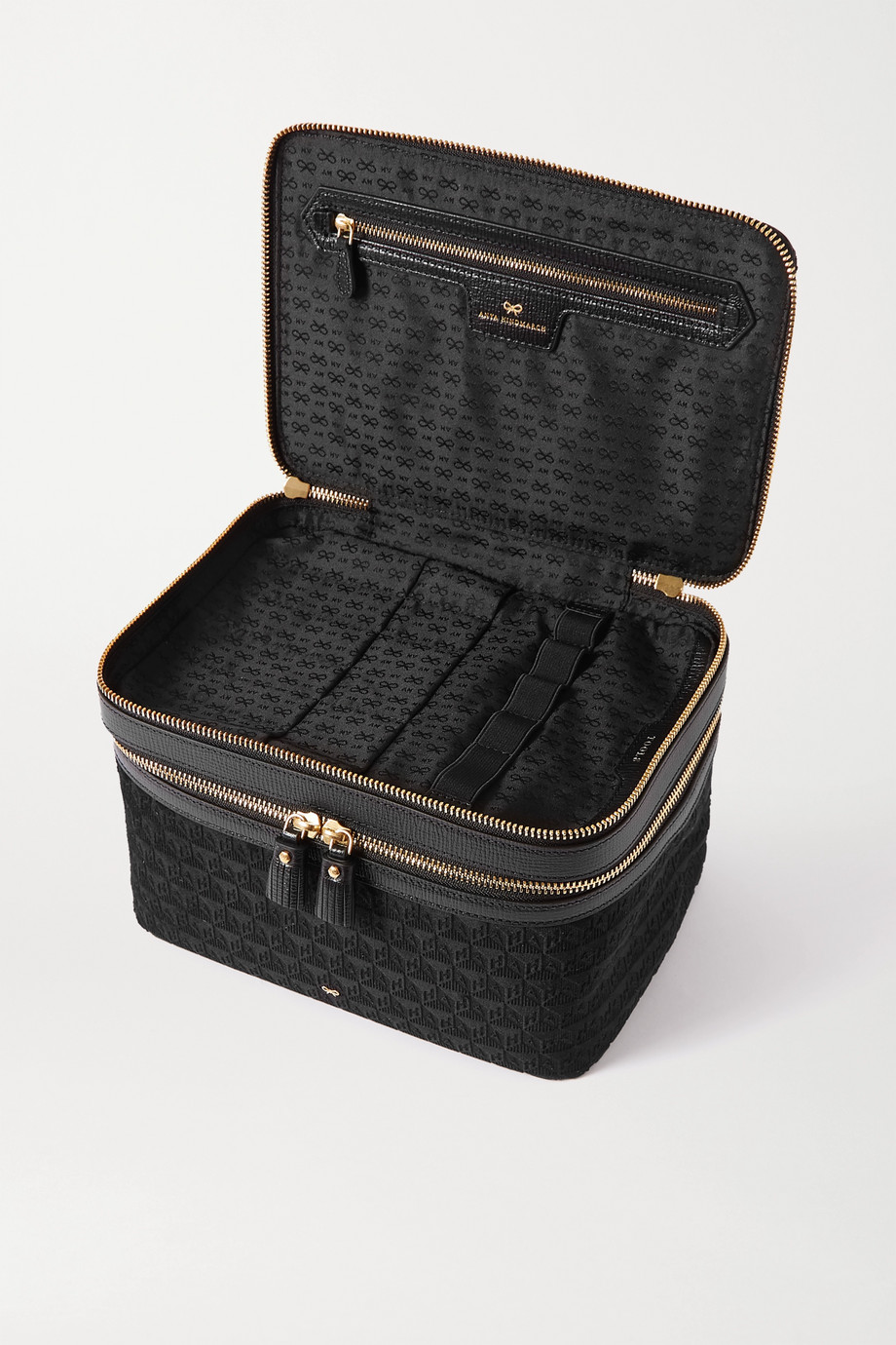 ANYA HINDMARCH Vanity Kit leather-trimmed velvet-jacquard cosmetics case