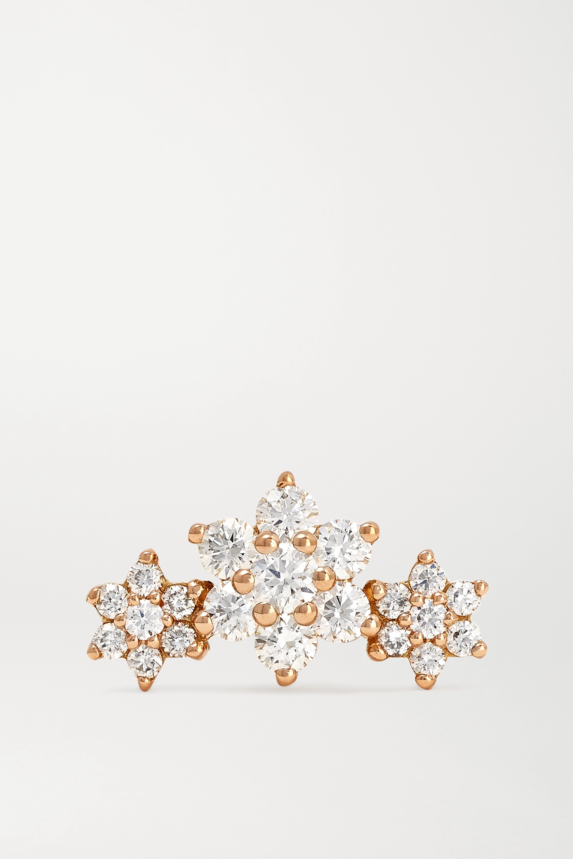 MARIA TASH Flower Garland 18-karat rose gold diamond earring