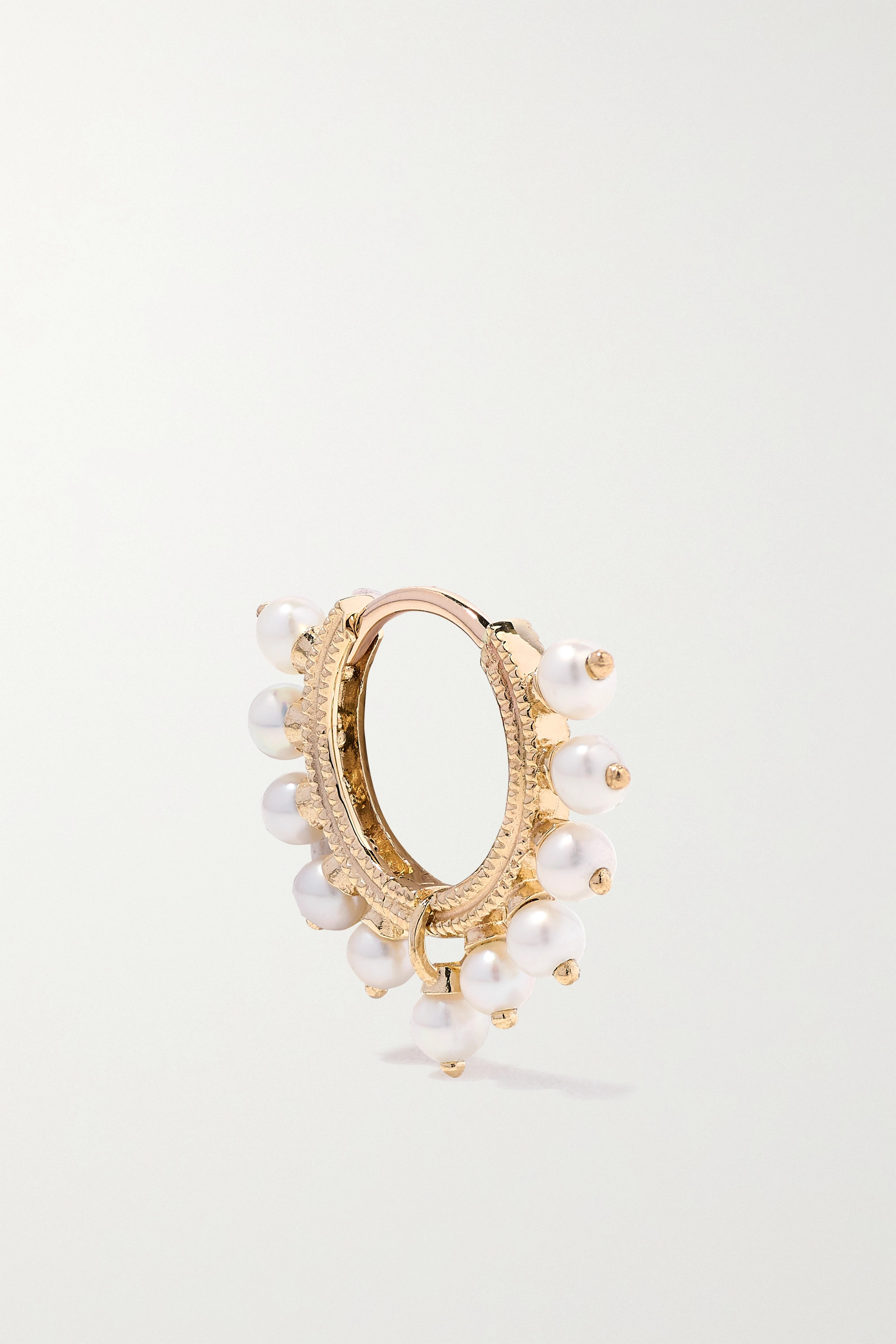 MARIA TASH 8mm 14-karat rose gold pearl hoop earring