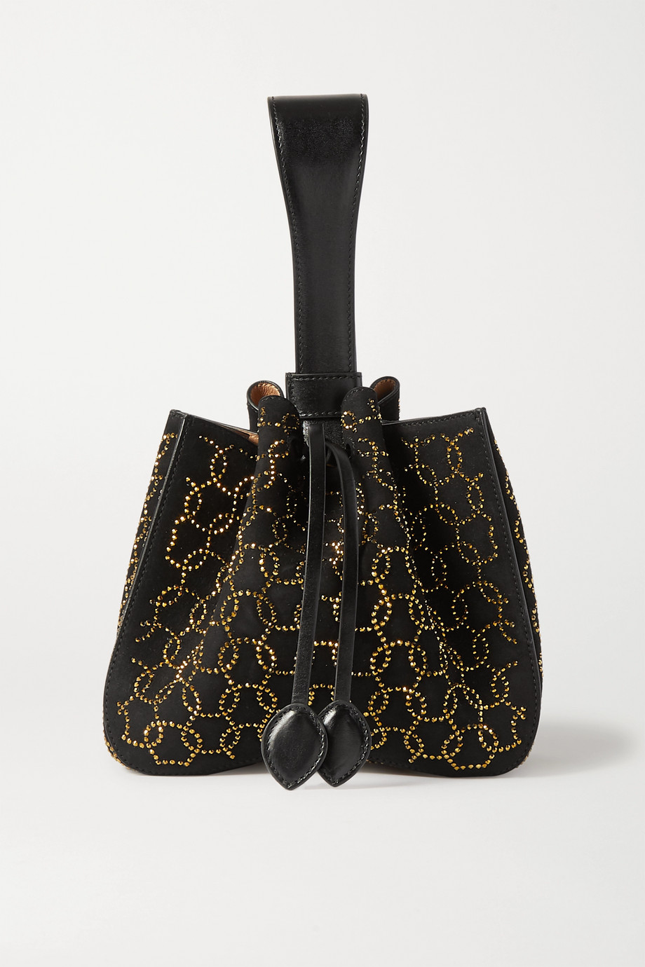 Alaïa Swarovski crystal-embellished suede and leather bucket bag