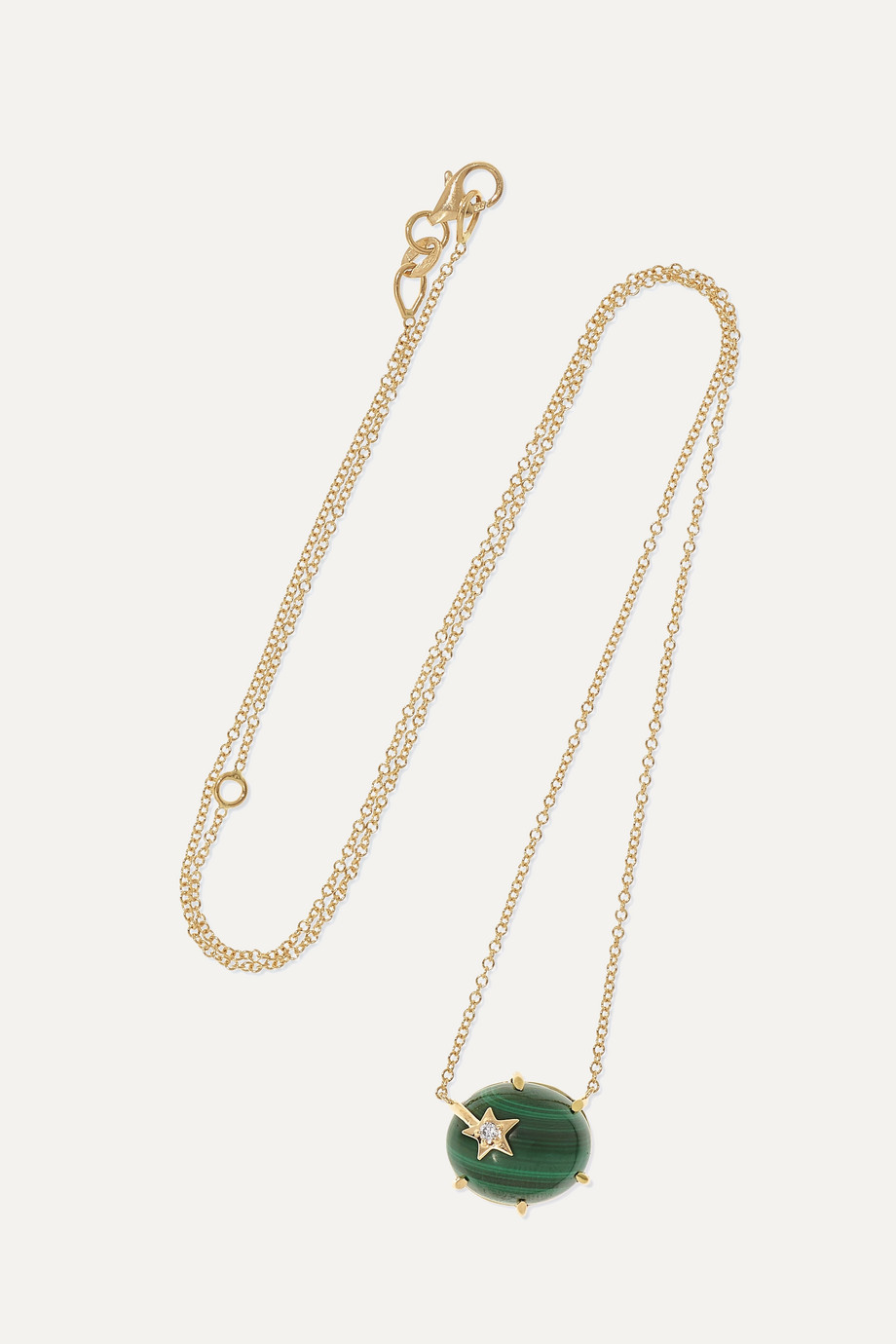 ANDREA FOHRMAN Mini Galaxy 18-karat gold, malachite and diamond necklace