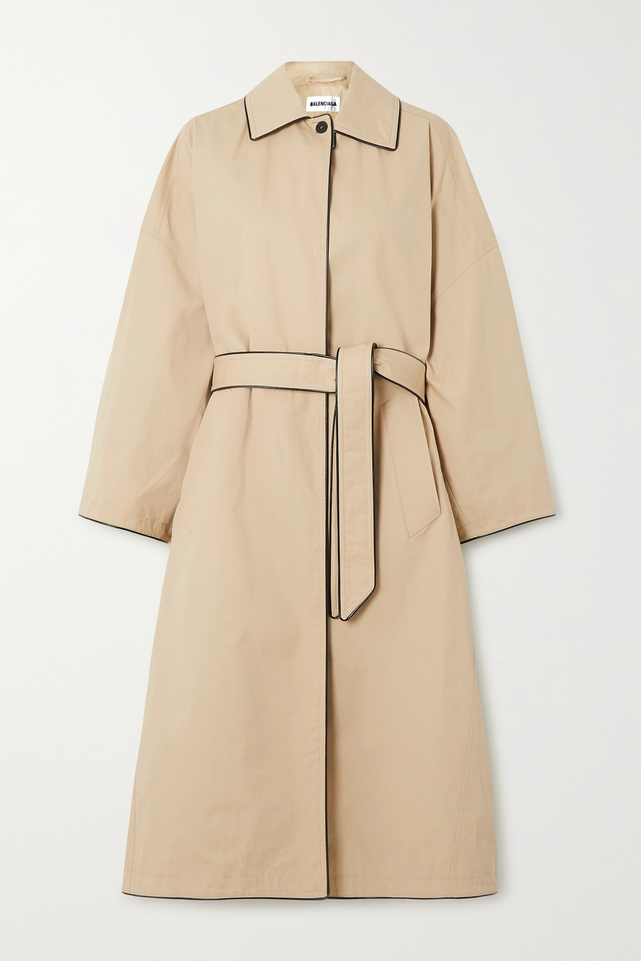 BALENCIAGA Faux leather-trimmed cotton-gabardine trench coat