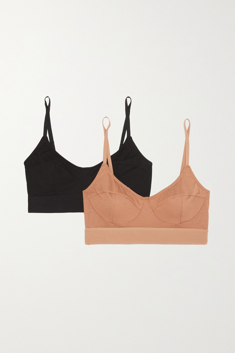 BASERANGE + NET SUSTAIN Set of two stretch-bamboo soft-cup bra