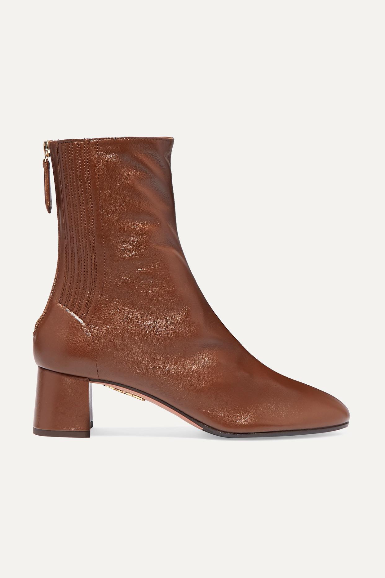AQUAZZURA - Saint Honoré 50 Leather Ankle Boots - Brown - IT39