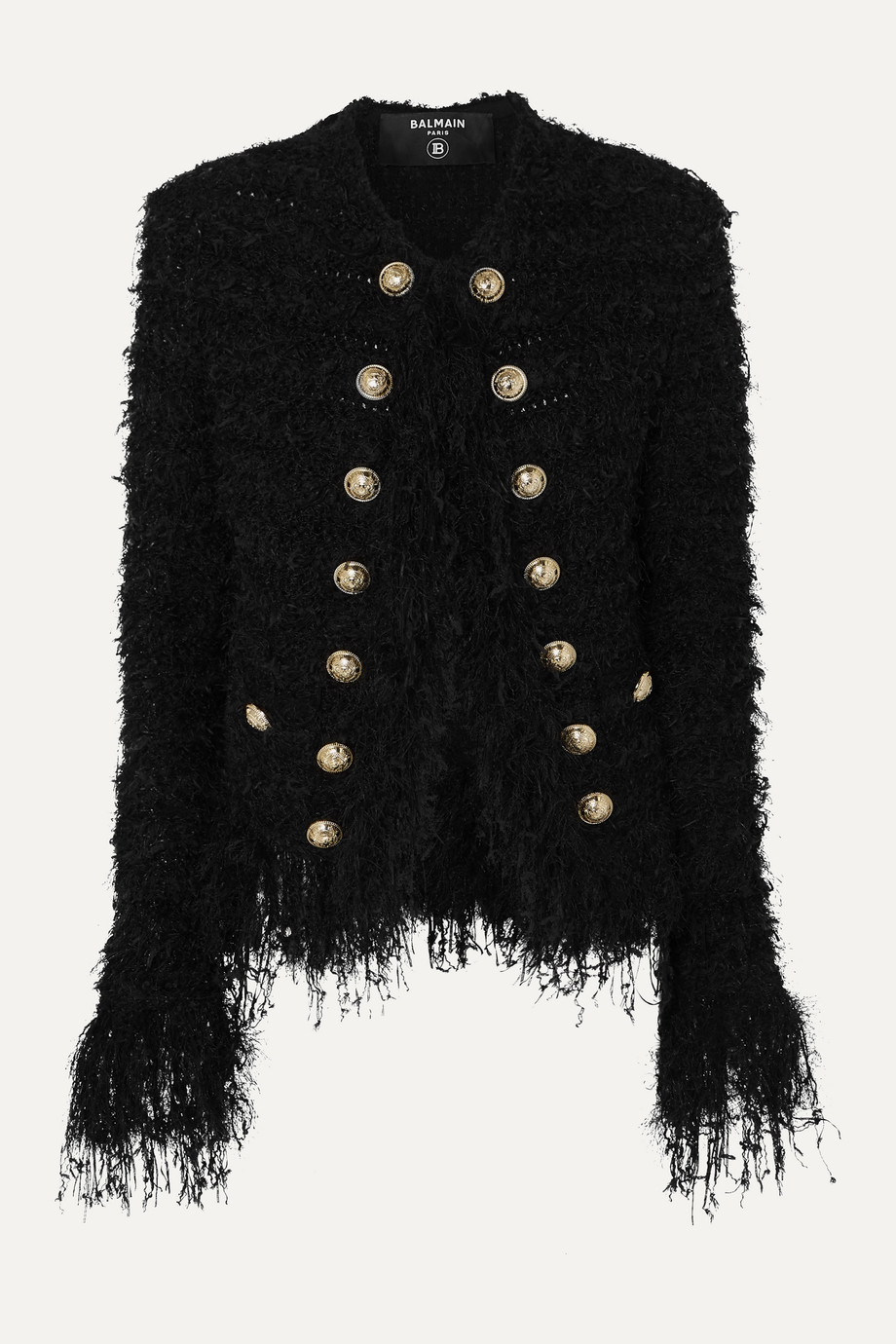 BALMAIN Fringed tweed blazer
