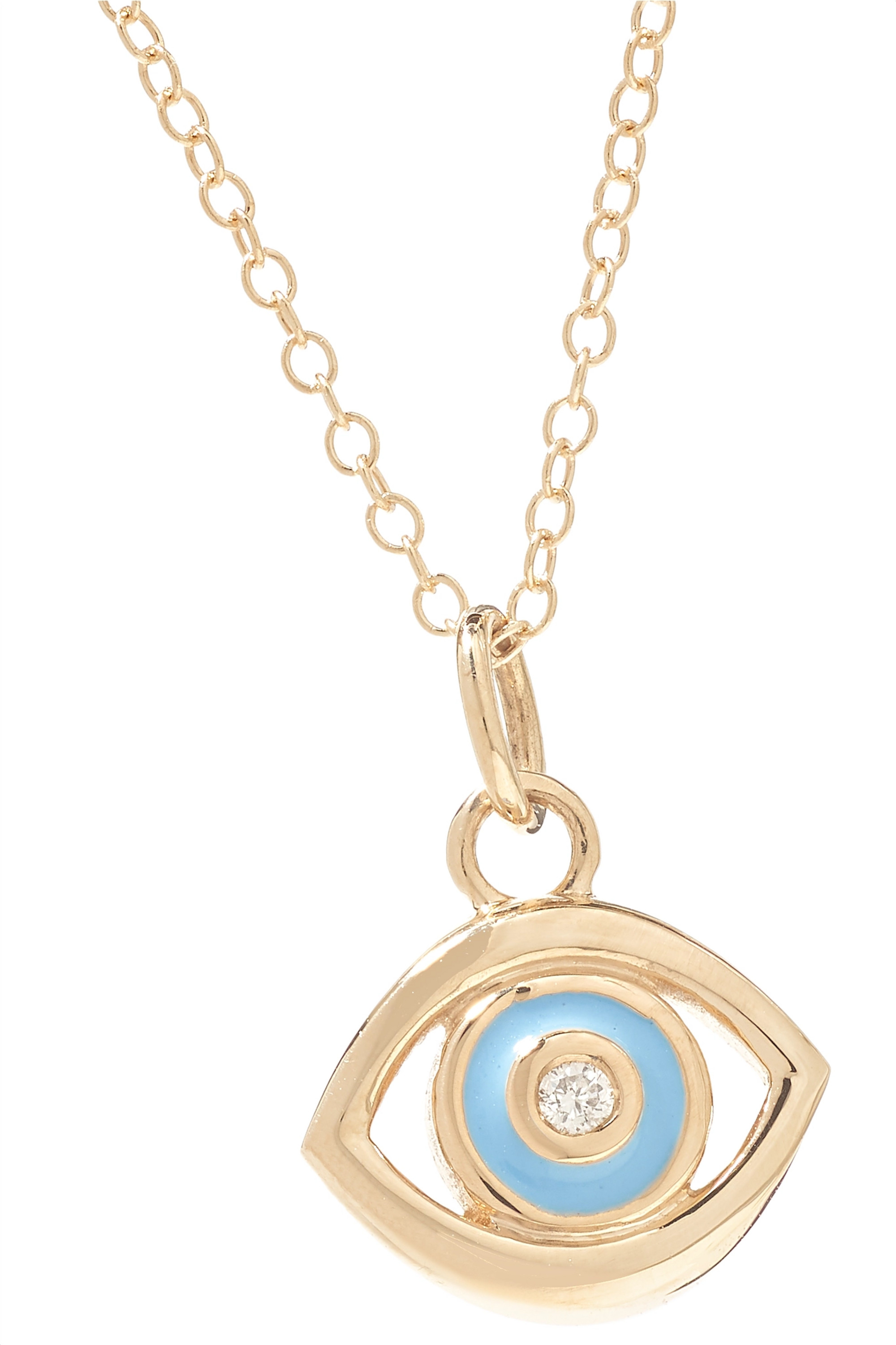 ALISON LOU Evil Eye 14-karat gold, diamond and enamel necklace