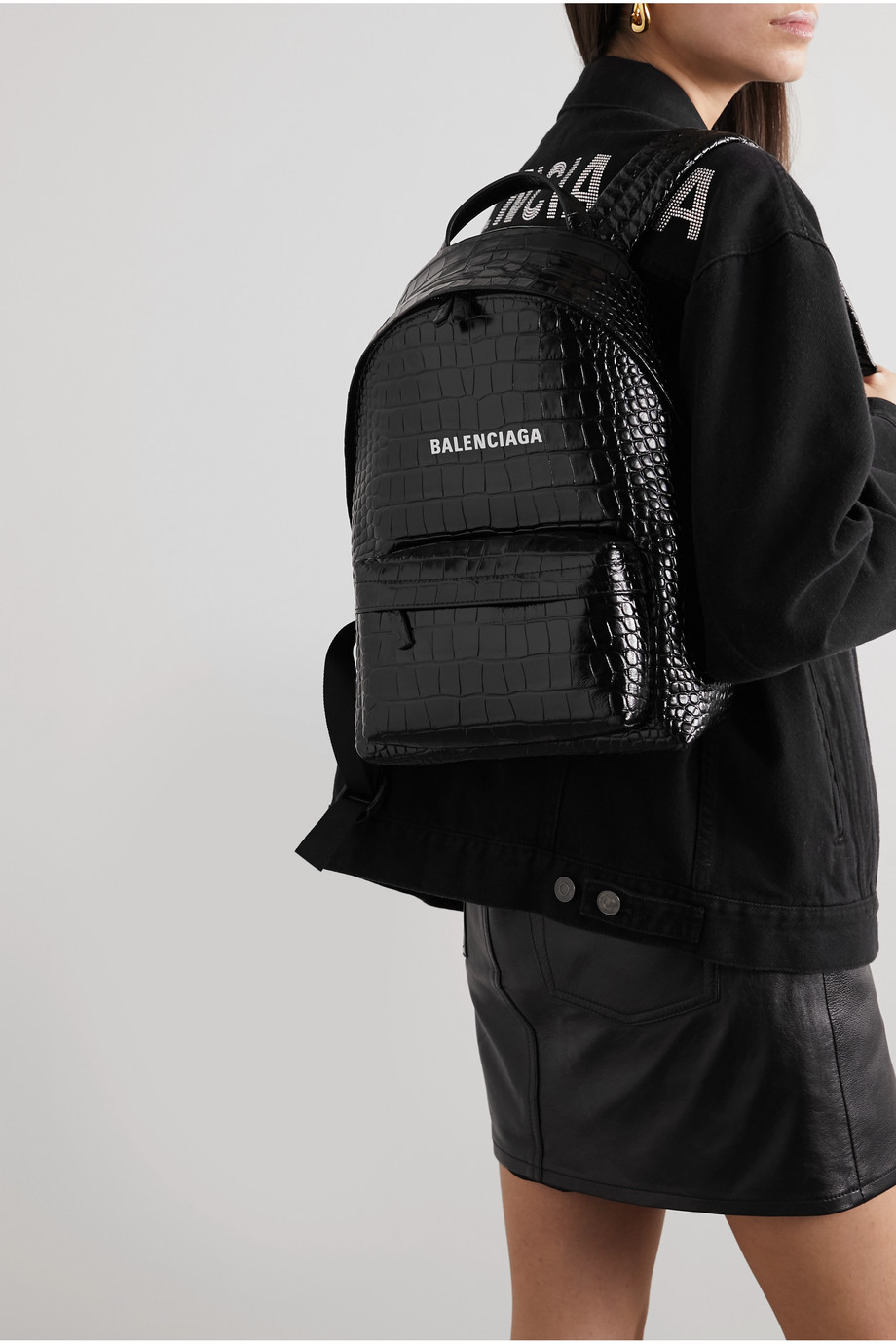 BALENCIAGA Everyday croc-effect leather backpack