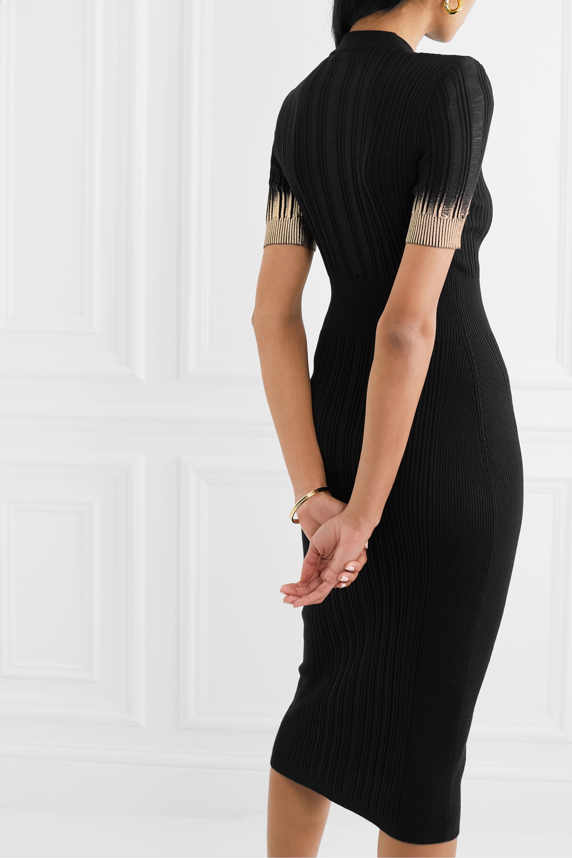 BALMAIN Button-embellished metallic ribbed silk, wool and cashmere-blend midi dress