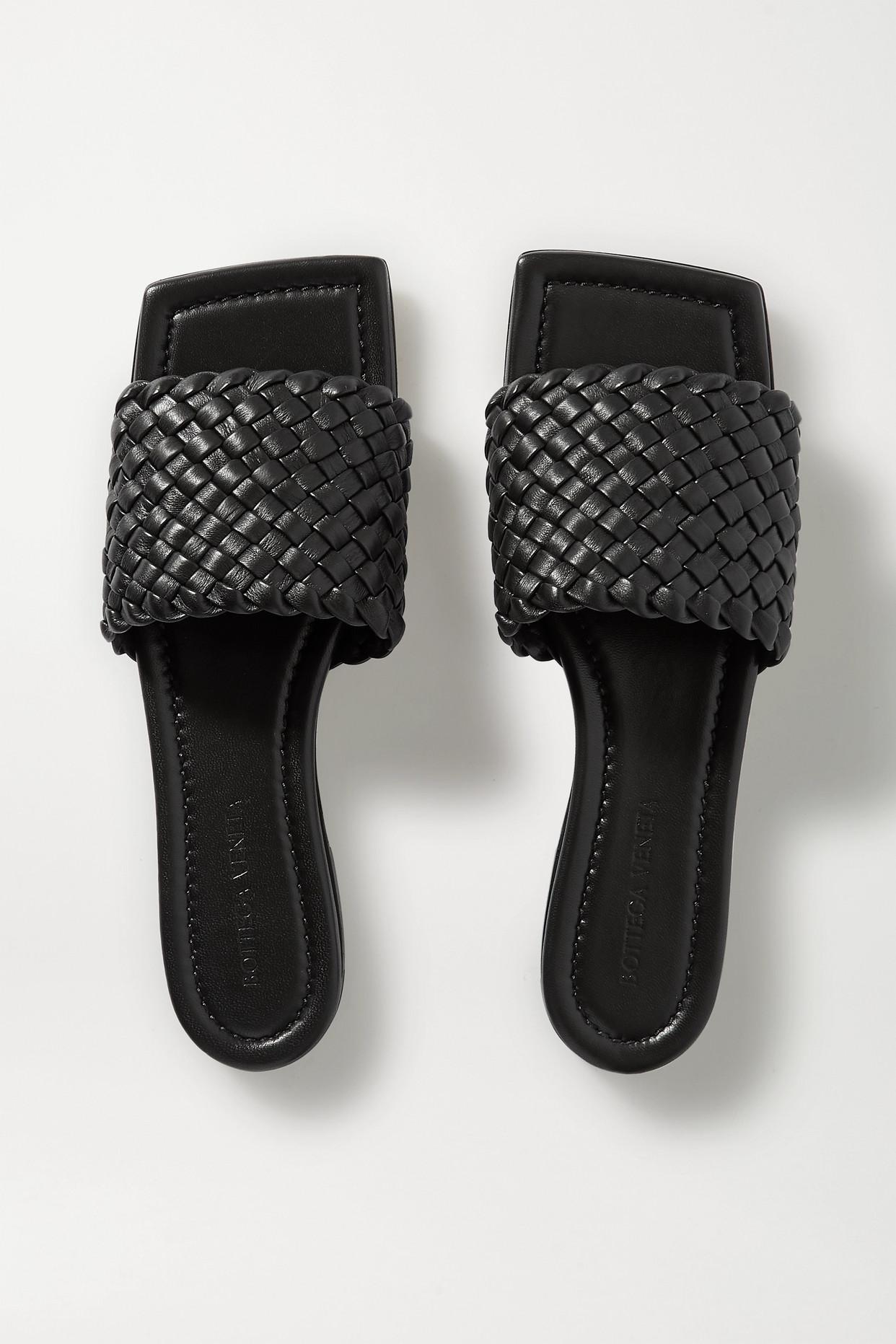 BOTTEGA VENETA - Intrecciato Leather Slides - Black - IT36