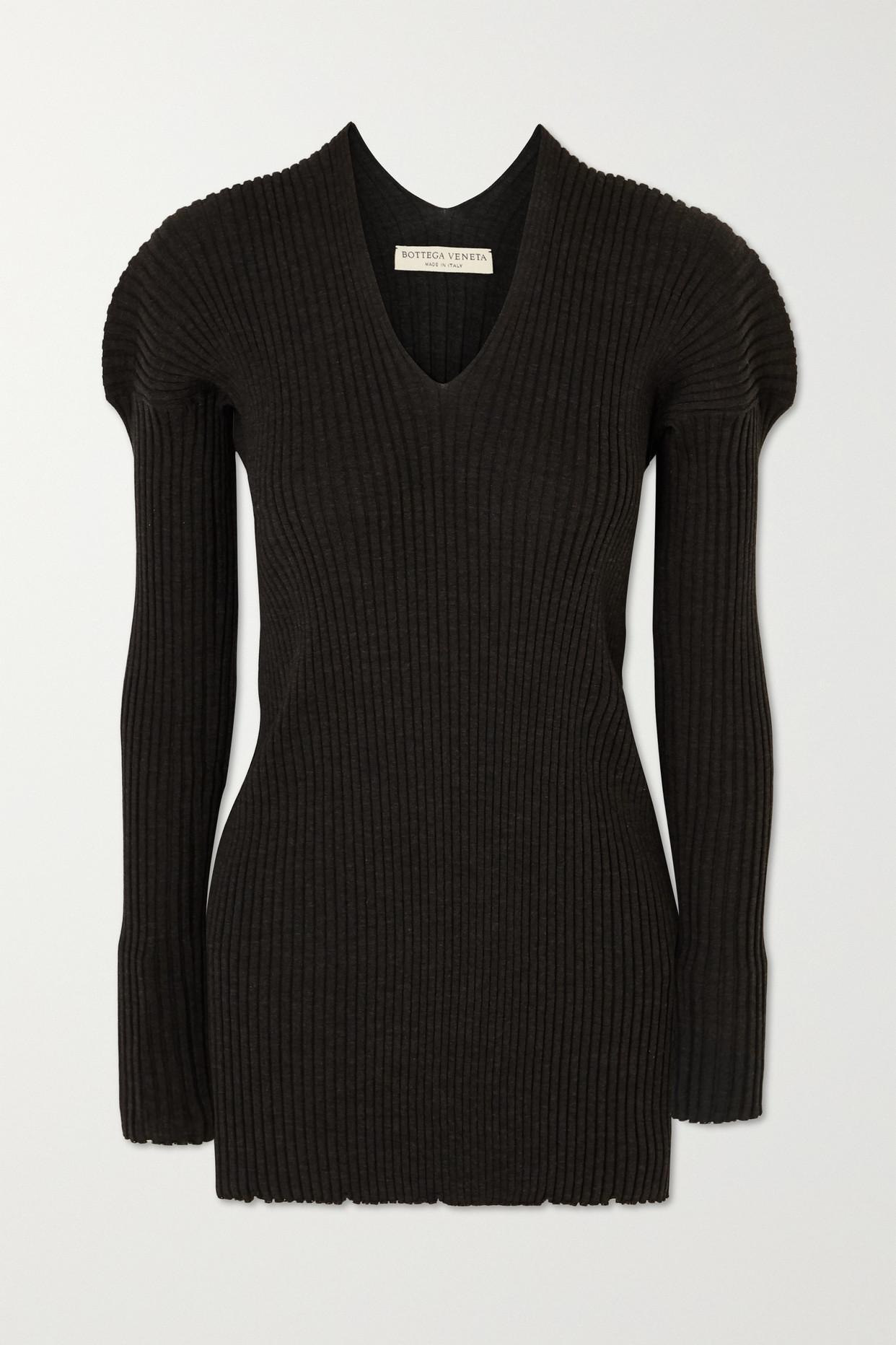 BOTTEGA VENETA - Ribbed Wool Sweater - Gray - IT40