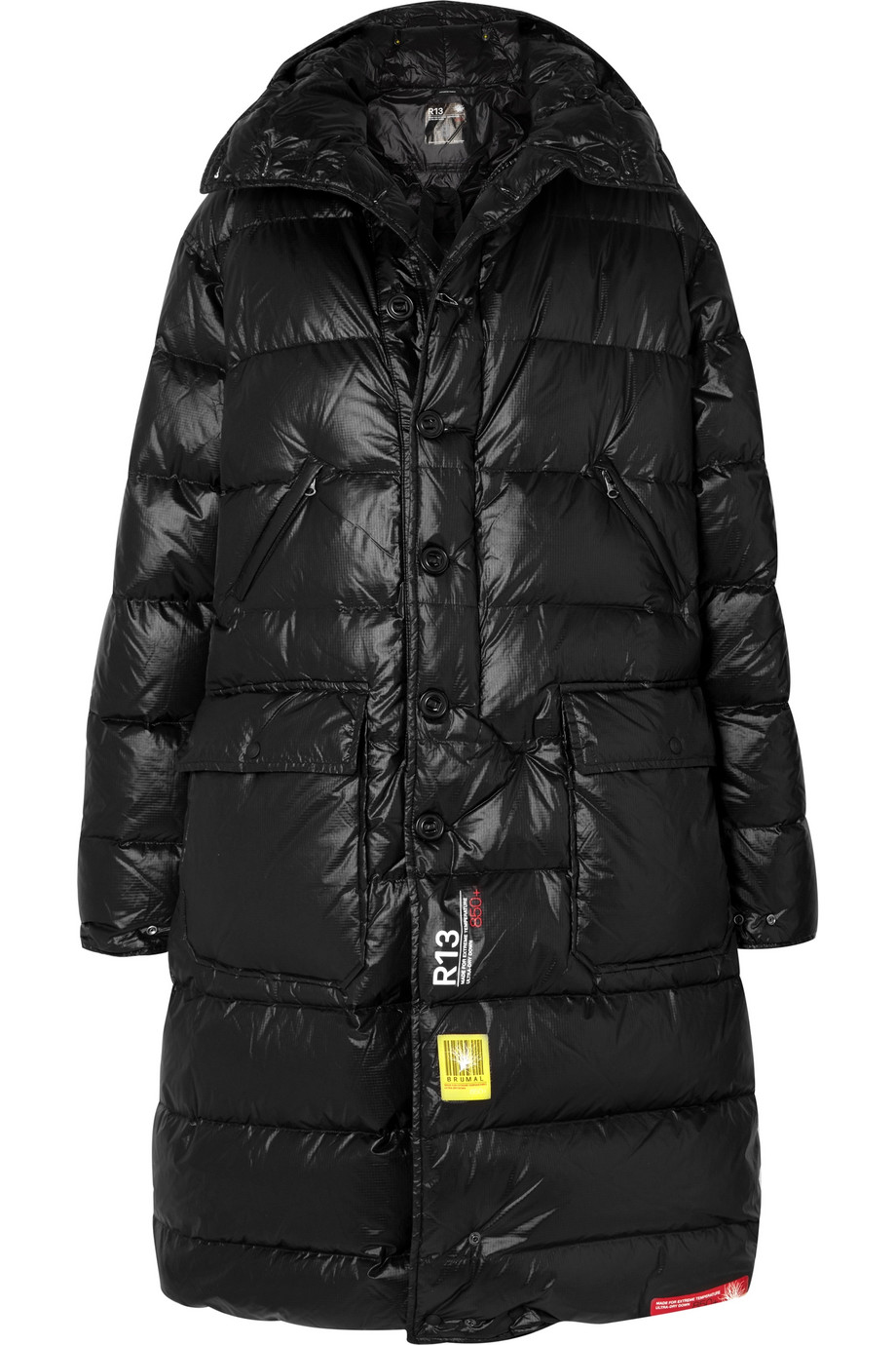 BRUMAL + R13 hooded quilted shell down jacket