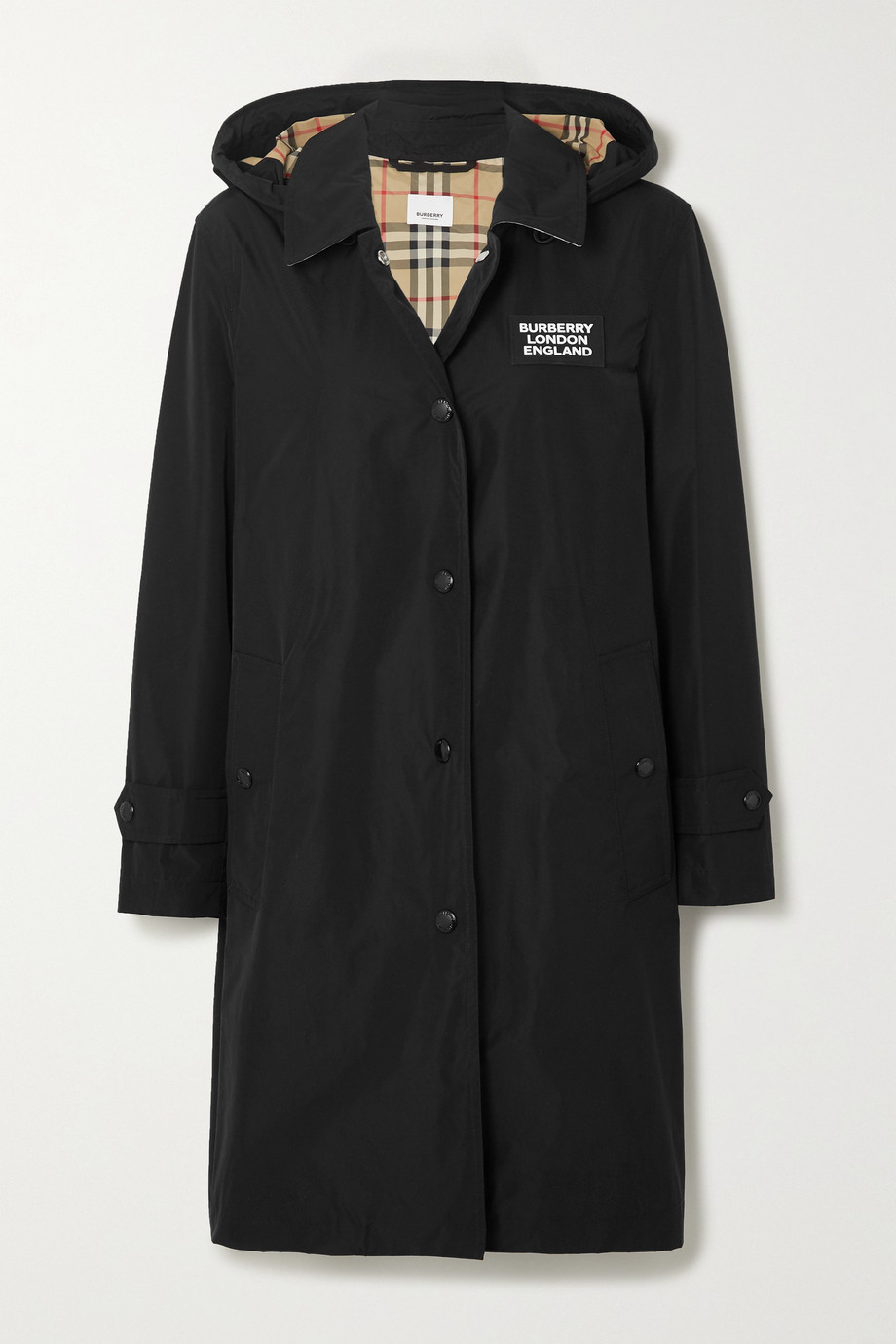 BURBERRY Hooded appliquéd shell raincoat