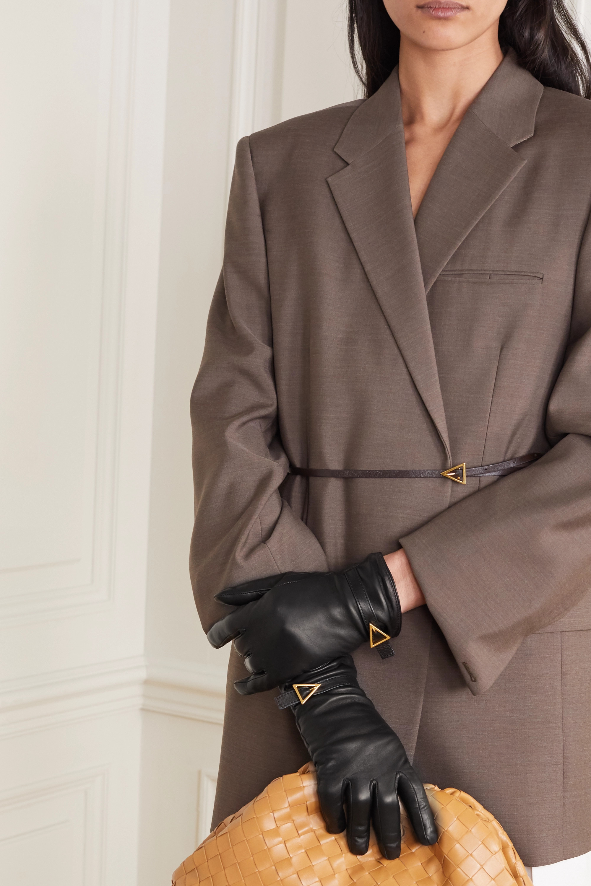 BOTTEGA VENETA Embellished leather gloves