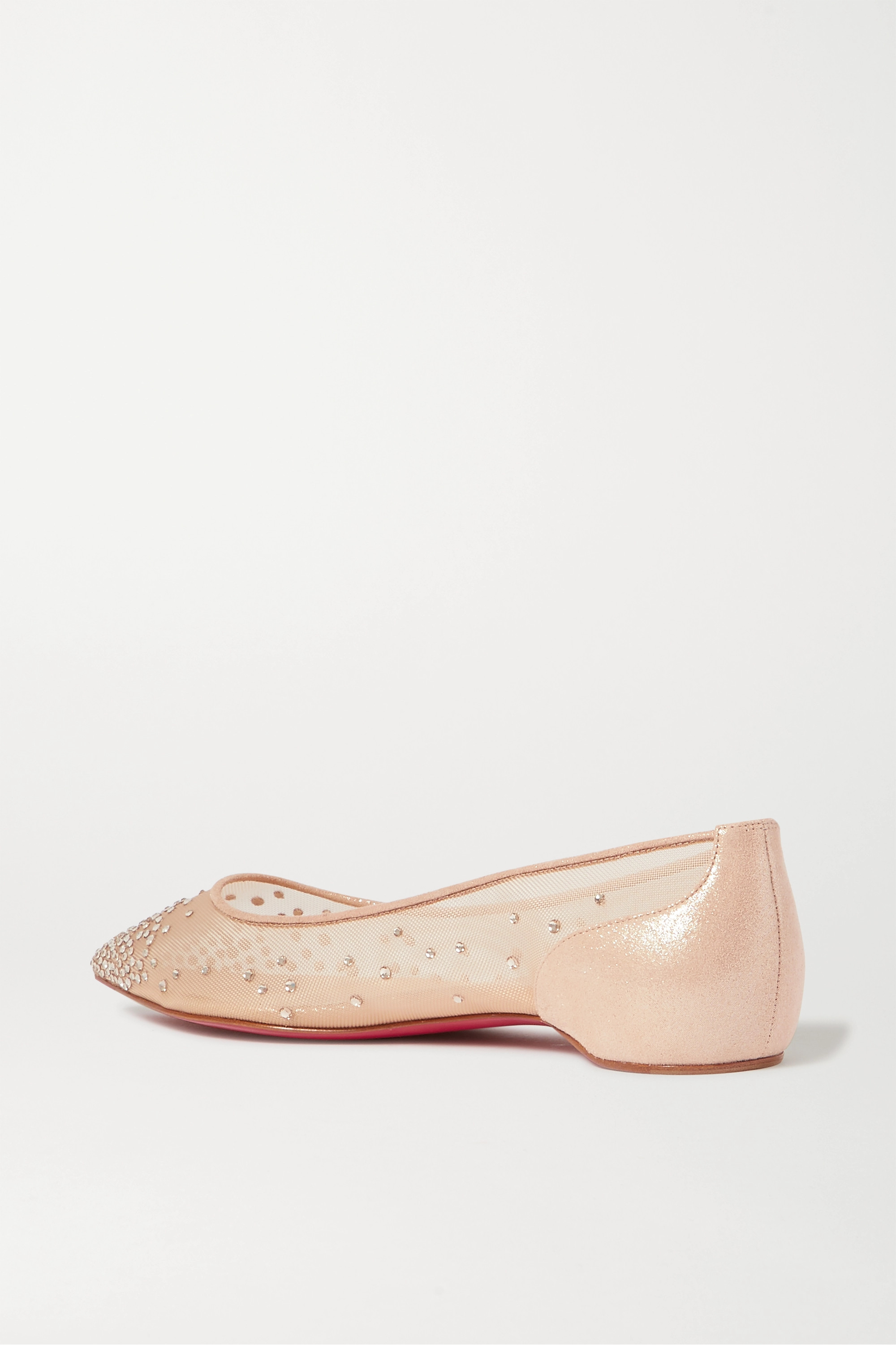 CHRISTIAN LOUBOUTIN Follies Swarovski crystal-embellished mesh and lamé point-toe flats