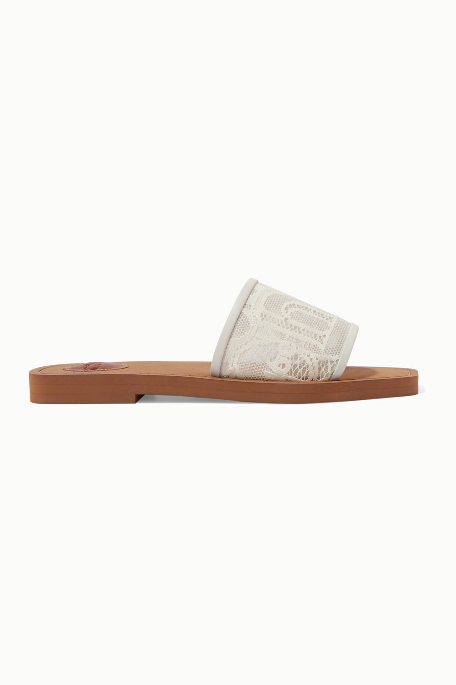 CHLOÉ Woody leather-trimmed logo-embroidered lace slides