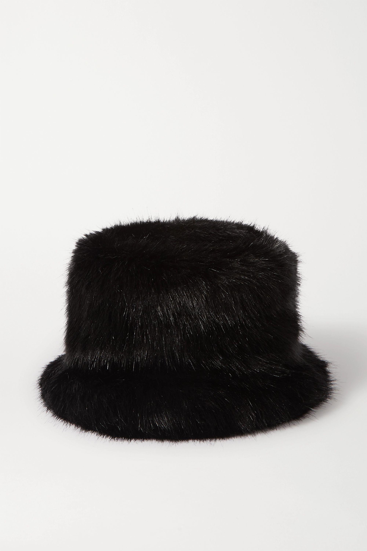 Black Cat Faux Fur Bucket Hat Emma Brewin Net A Porter