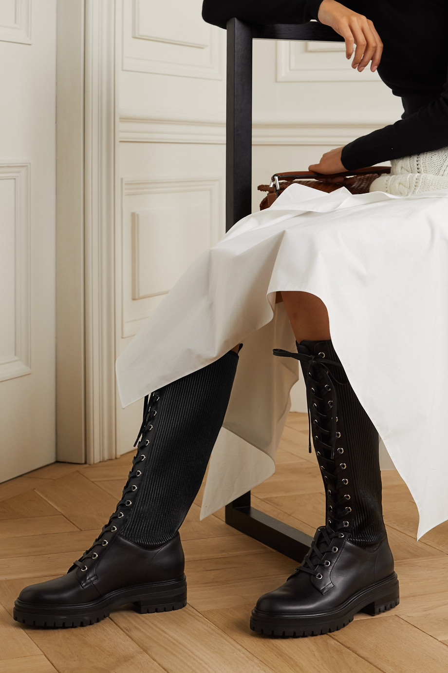 GIANVITO ROSSI Lace-up leather knee boots