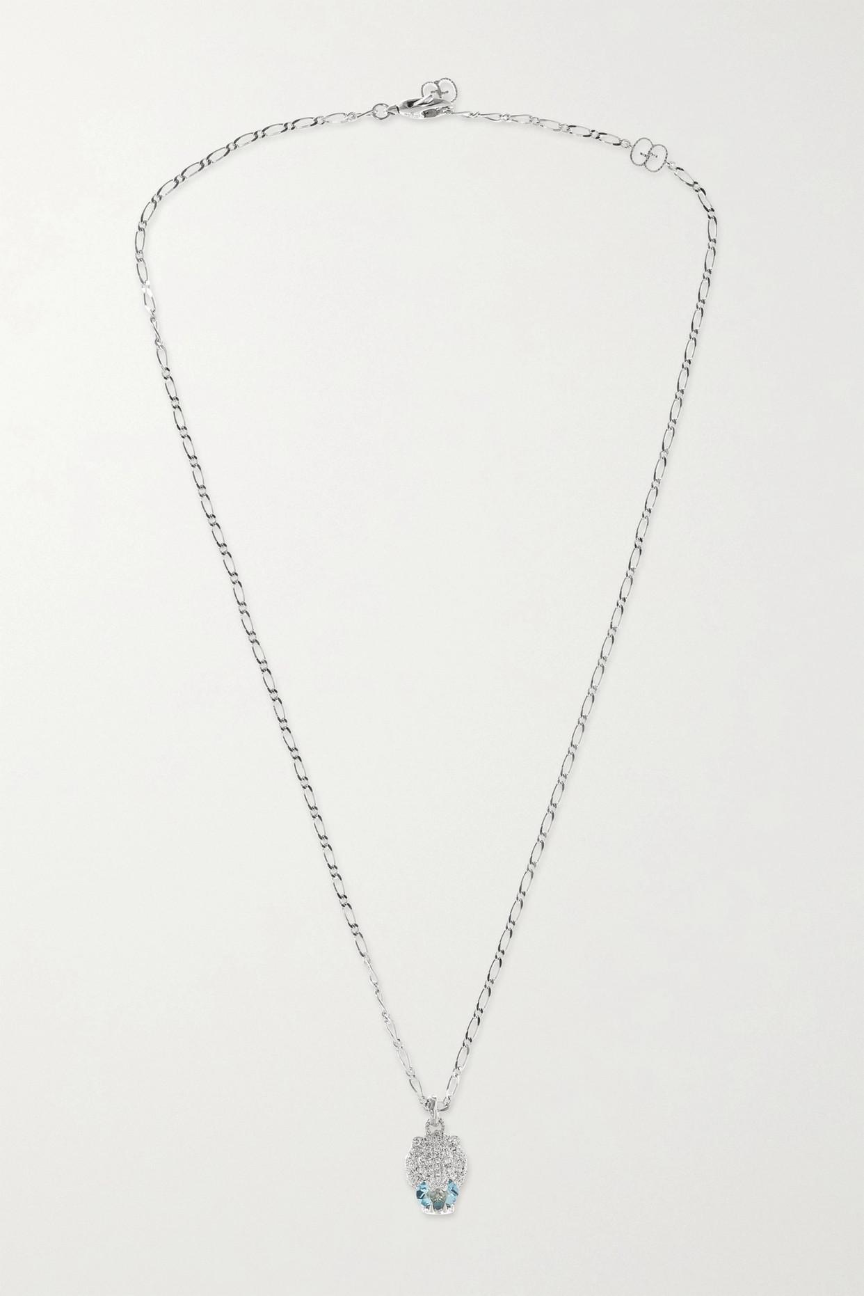 GUCCI - 18-karat White Gold, Diamond And Aquamarine Necklace - one size
