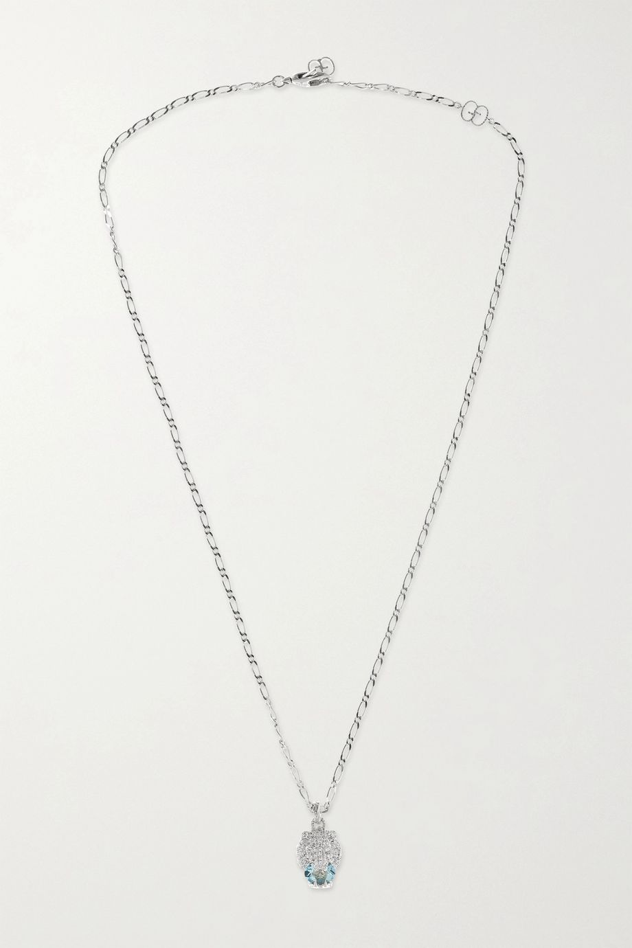 GUCCI 18-karat white gold, diamond and aquamarine necklace