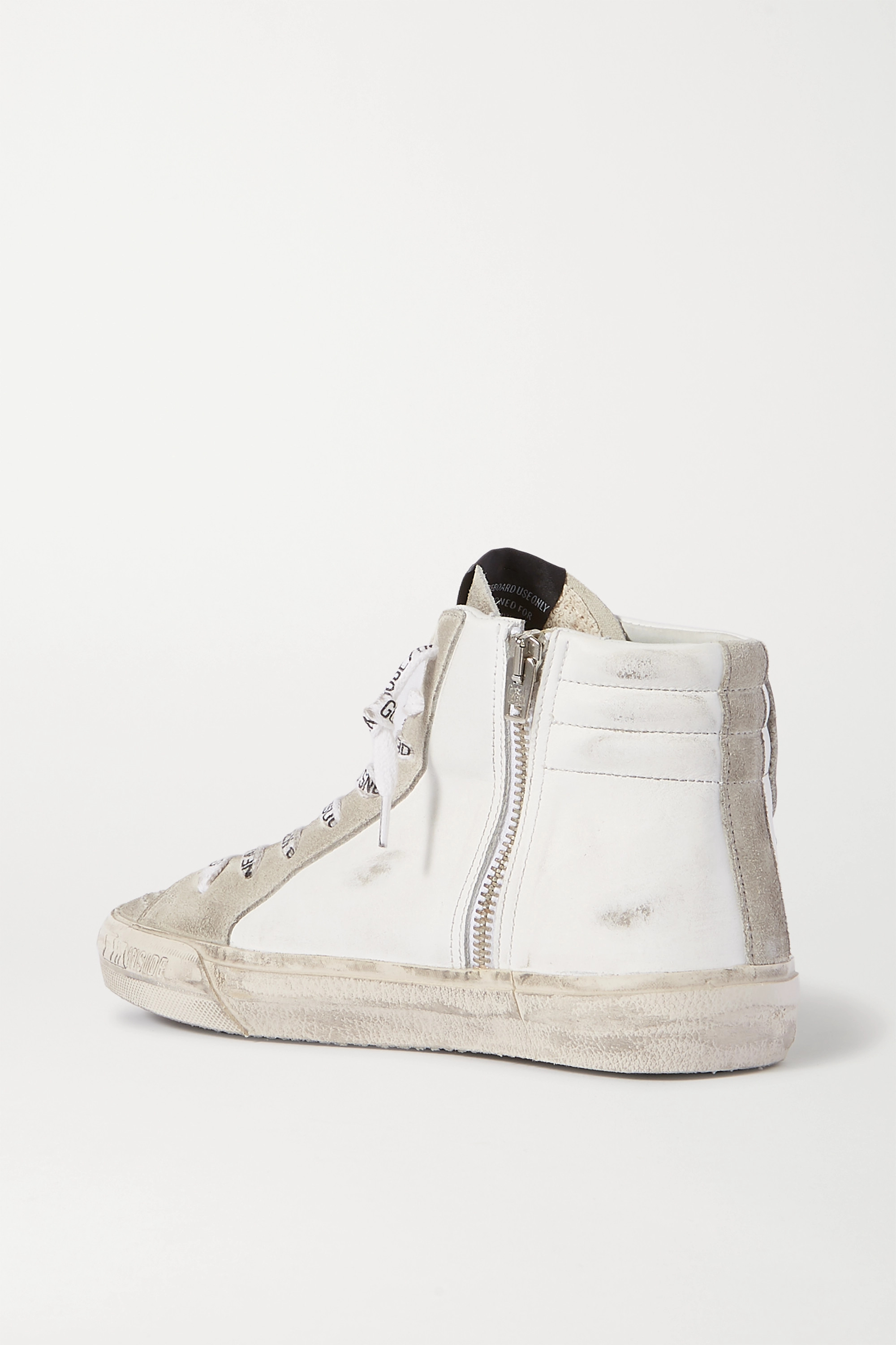 GOLDEN GOOSE Slide distressed leather and suede high-top sneakers