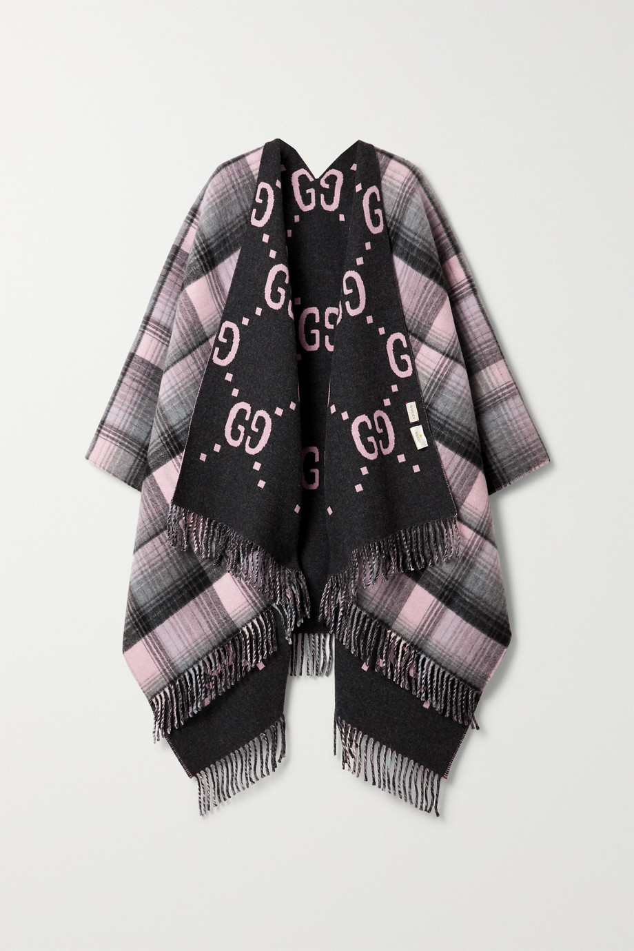 GUCCI Reversible fringed checked intarsia wool wrap