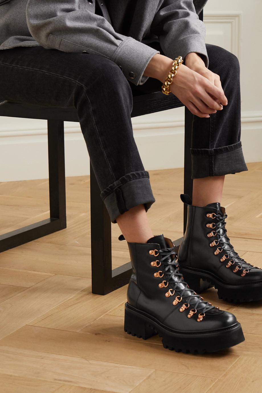 Grenson Nanette leather platform ankle boots