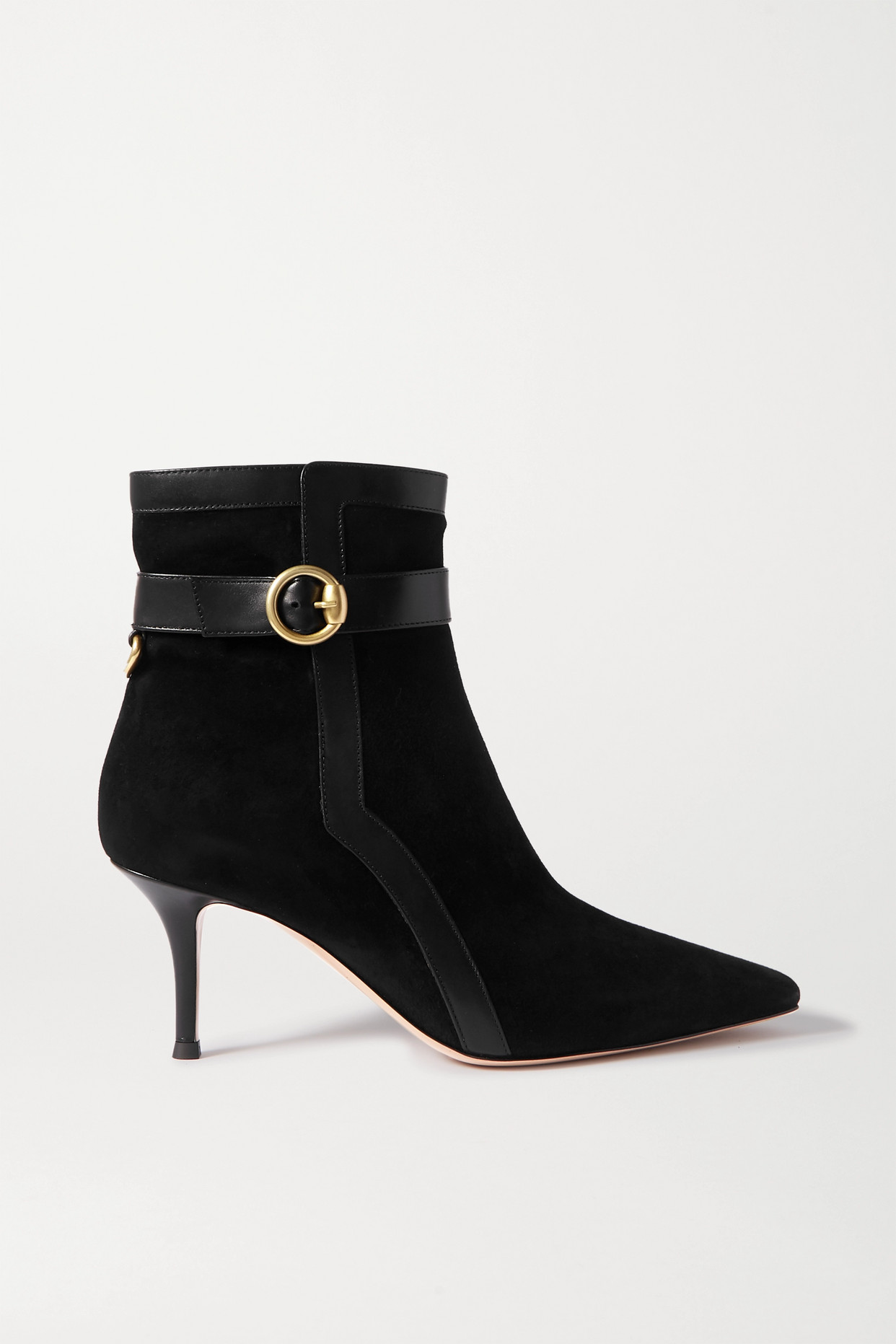 GIANVITO ROSSI - 70 Leather-trimmed Suede Ankle Boots - Black - IT35