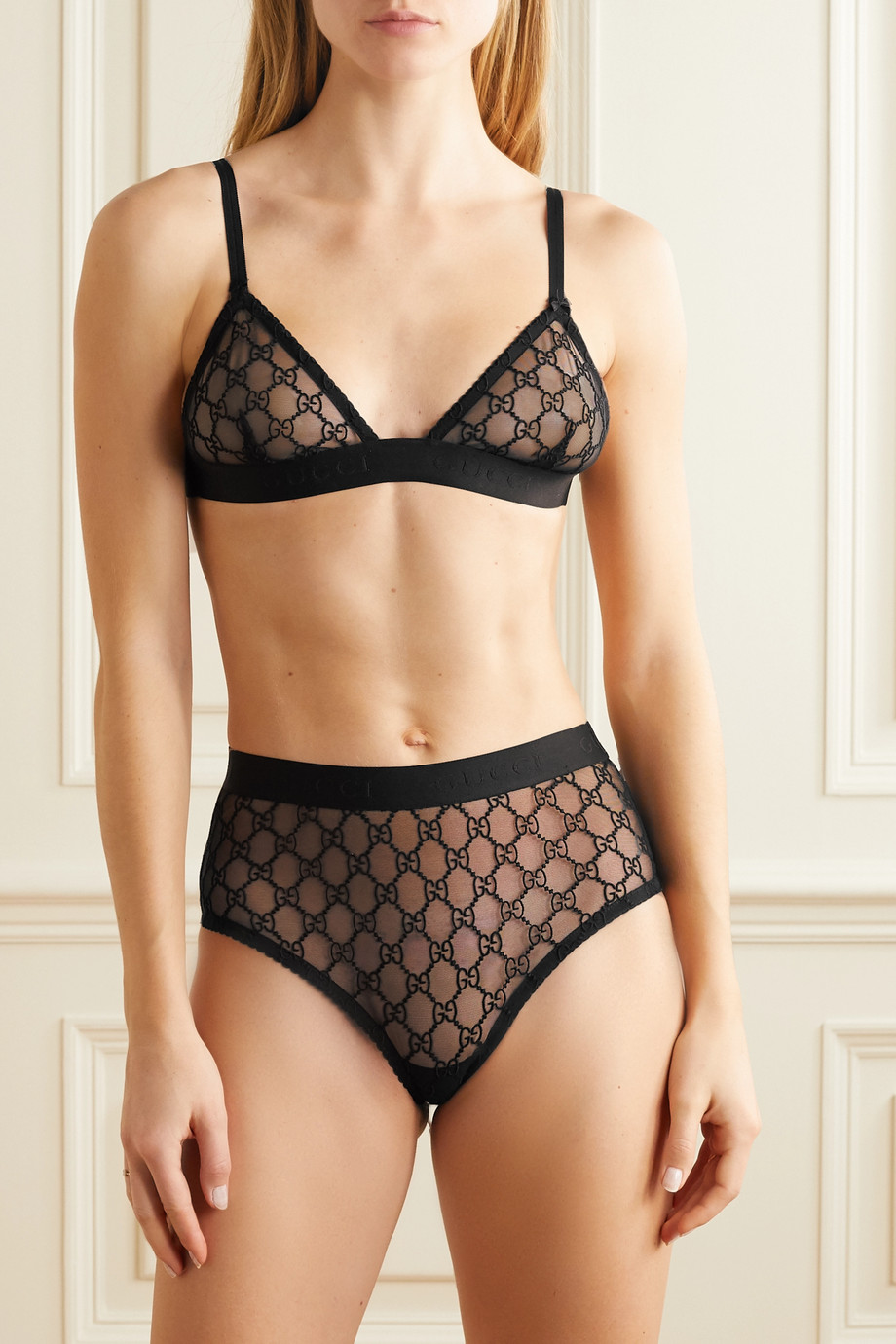 GUCCI Embroidered tulle bra and briefs set