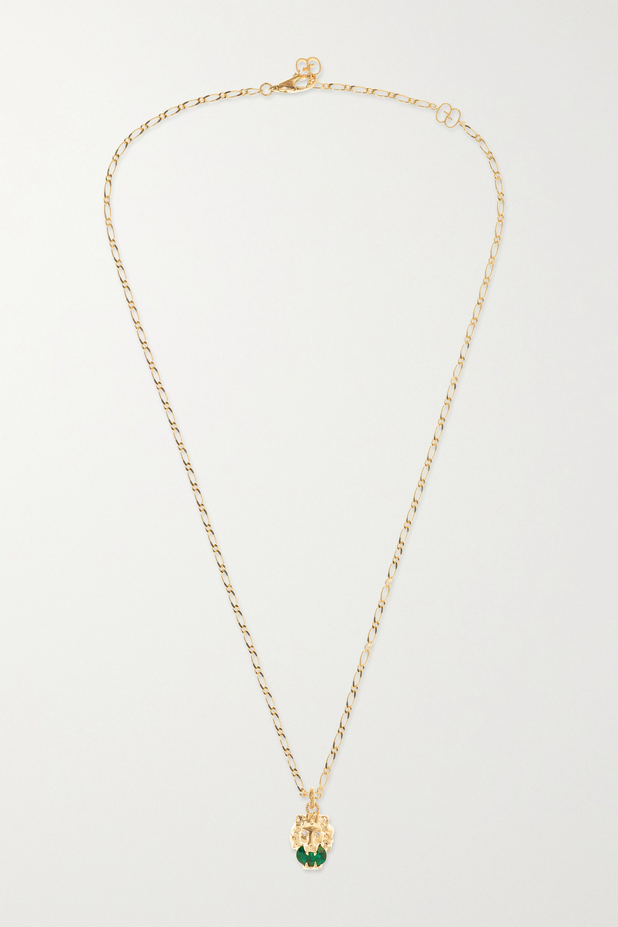GUCCI - 18-karat Gold, Chrome Diopside And Diamond Necklace - one size