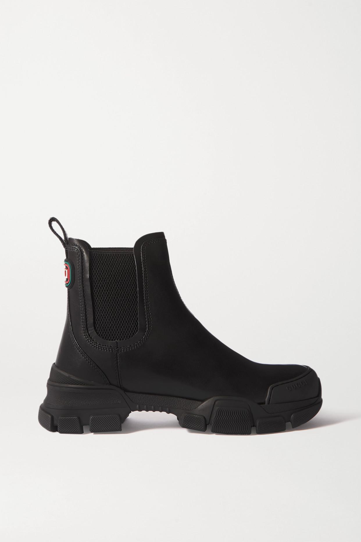 GUCCI - Leon 皮革切尔西靴 - 黑色 - IT36
