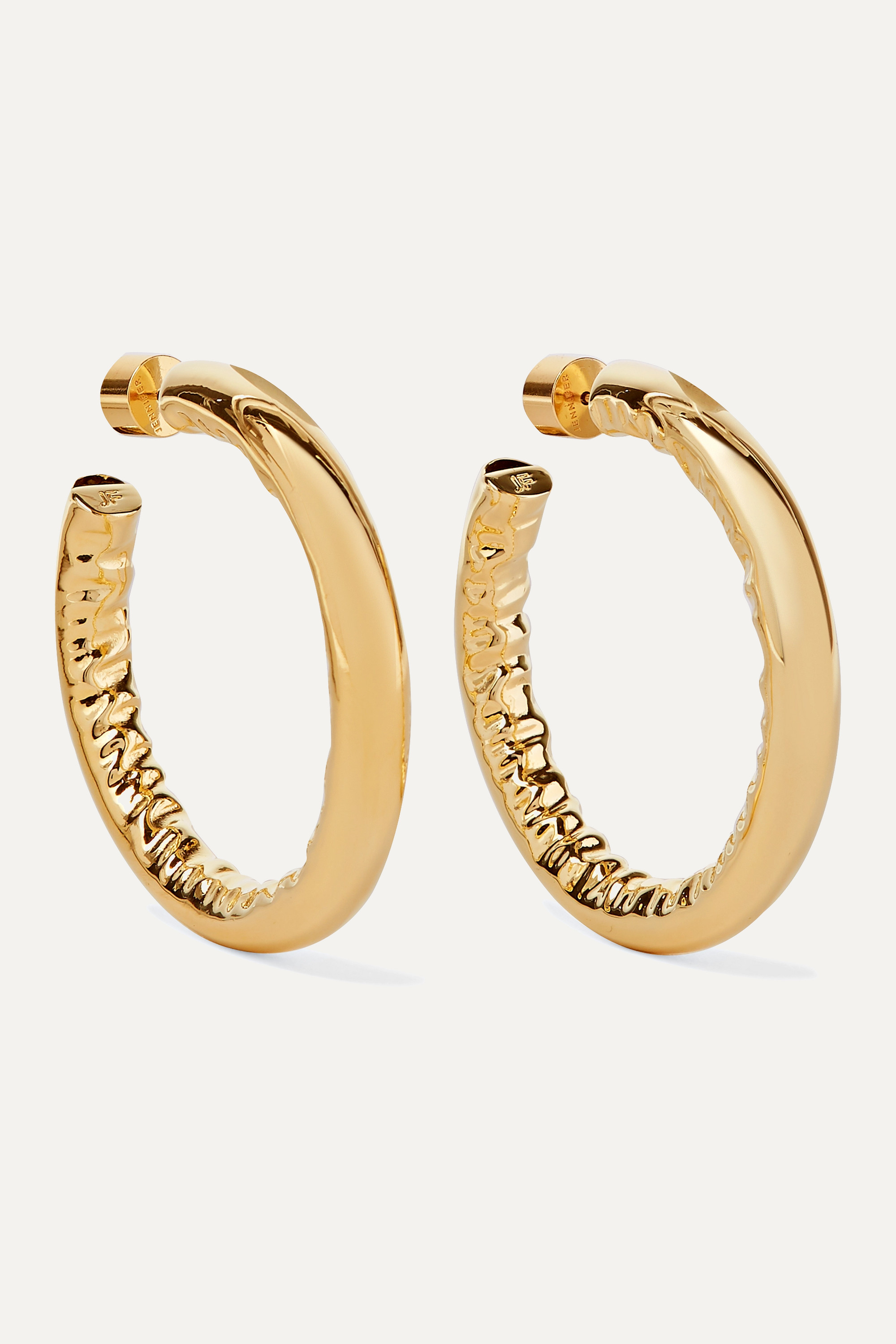 "JENNIFER FISHER 1.5"" Baby Jennifer gold-plated hoop earrings"