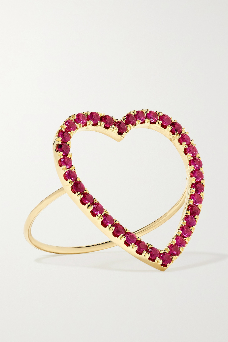 JENNIFER MEYER Large Open Heart 18-karat gold ruby ring