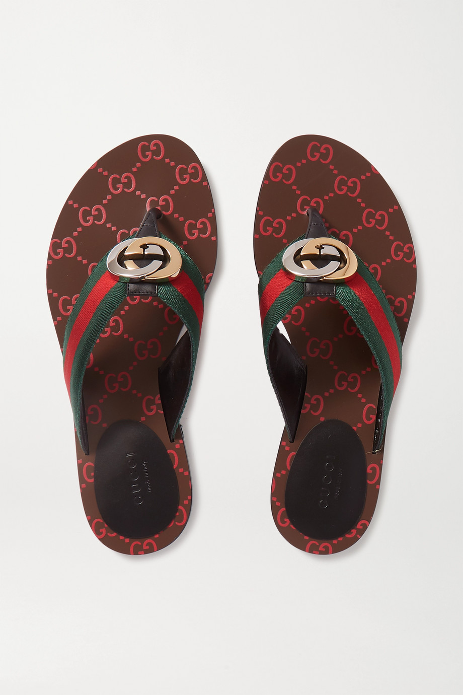 GUCCI Kika logo-embellished striped canvas and leather sandals