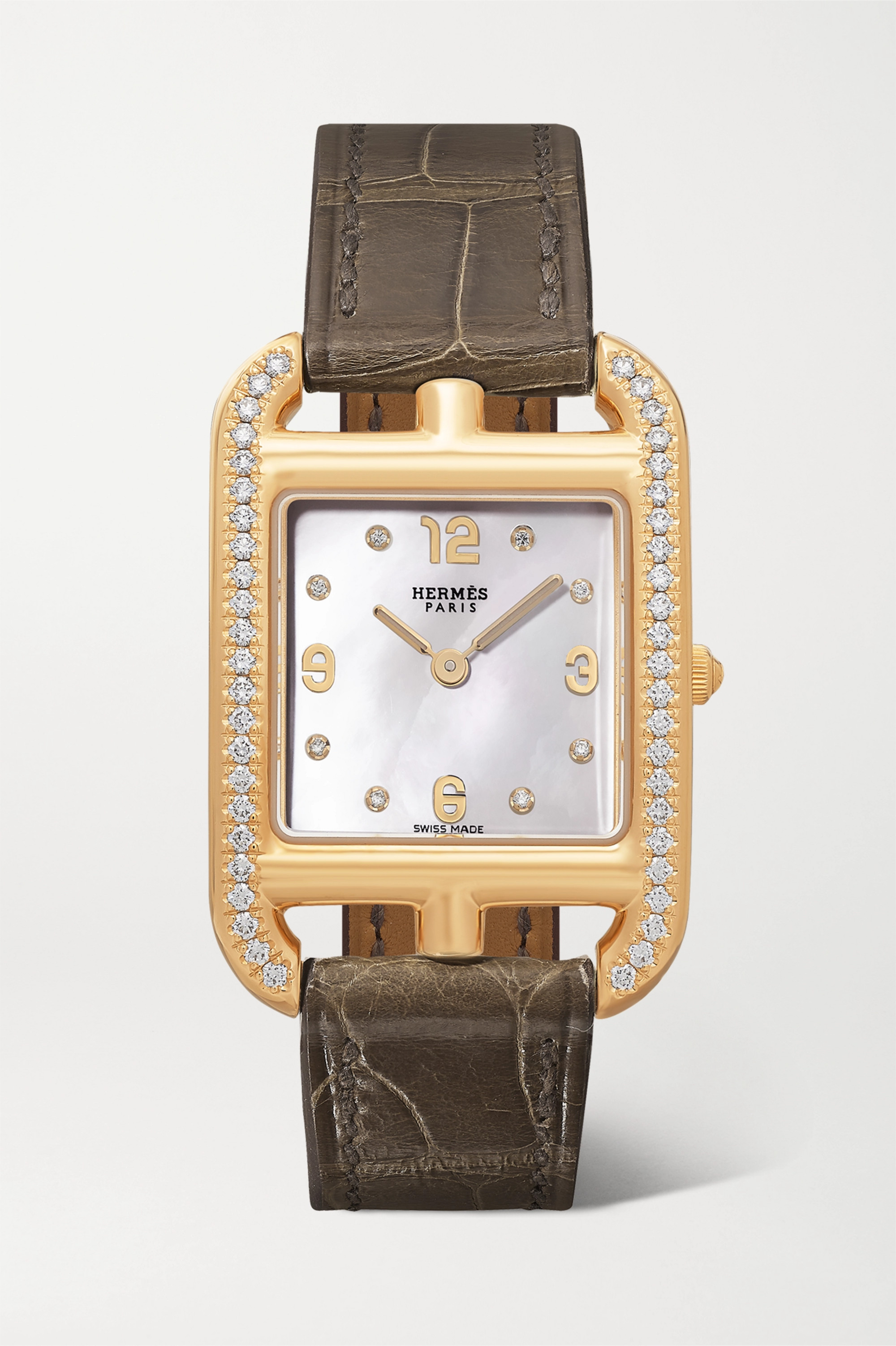HERMÈS TIMEPIECES Cape Cod 23mm small 18-karat gold, alligator, mother-of-pearl and diamond watch